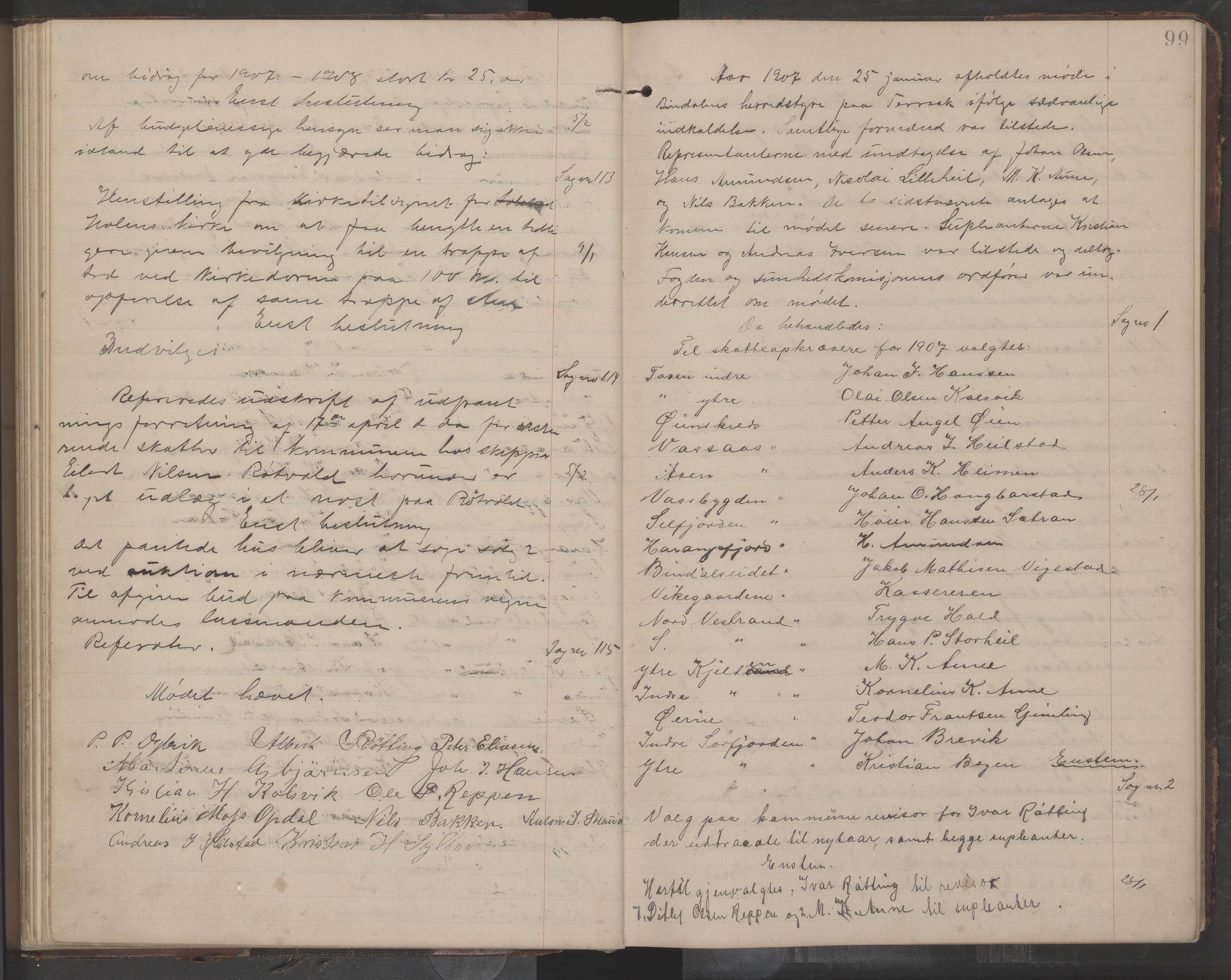 AIN, Bindal kommune. Formannskapet, A/Aa/L0000e: Møtebok, 1903-1914, s. 99