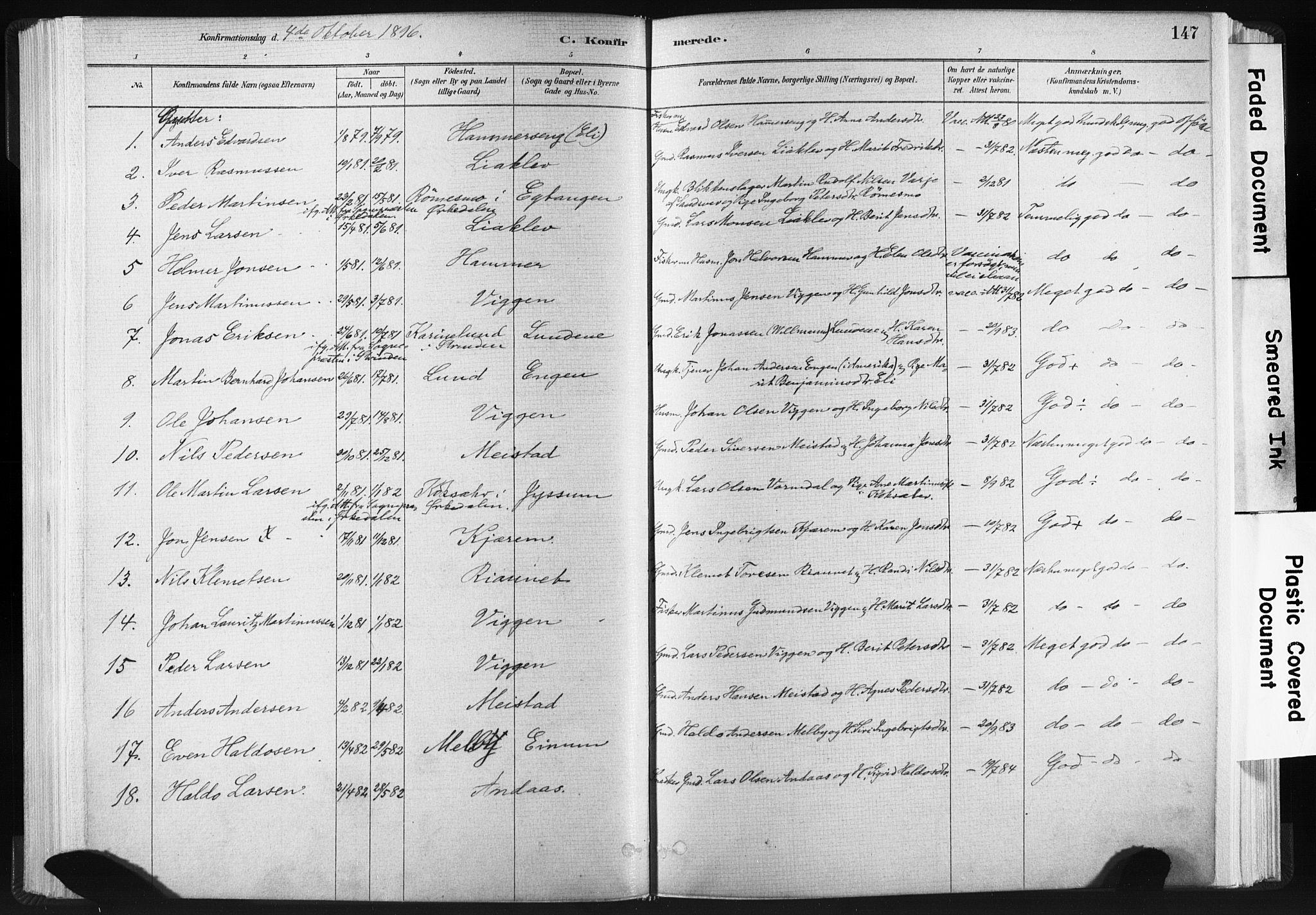 SAT, Ministerialprotokoller, klokkerbøker og fødselsregistre - Sør-Trøndelag, 665/L0773: Ministerialbok nr. 665A08, 1879-1905, s. 147