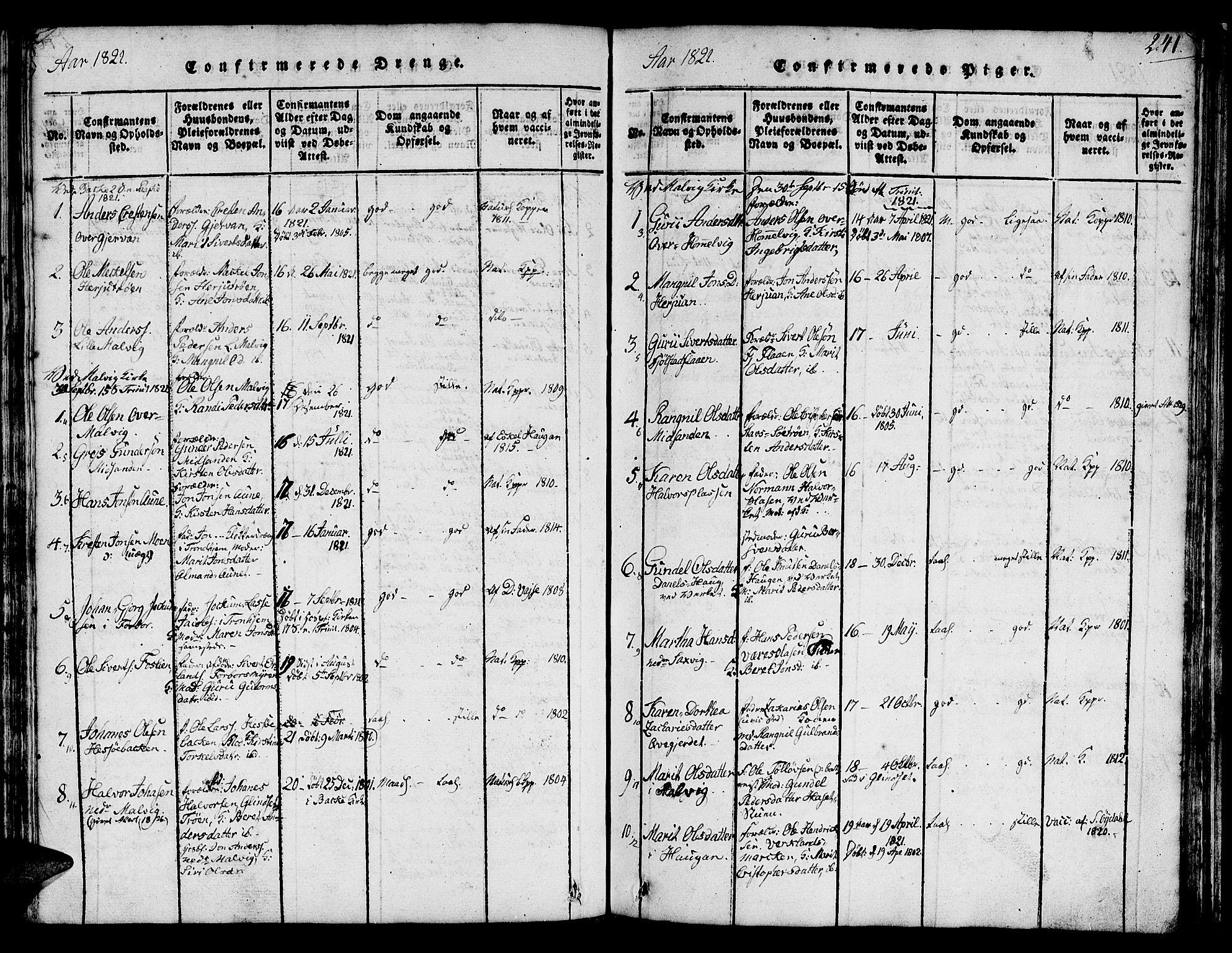 SAT, Ministerialprotokoller, klokkerbøker og fødselsregistre - Sør-Trøndelag, 616/L0420: Klokkerbok nr. 616C03, 1817-1835, s. 241