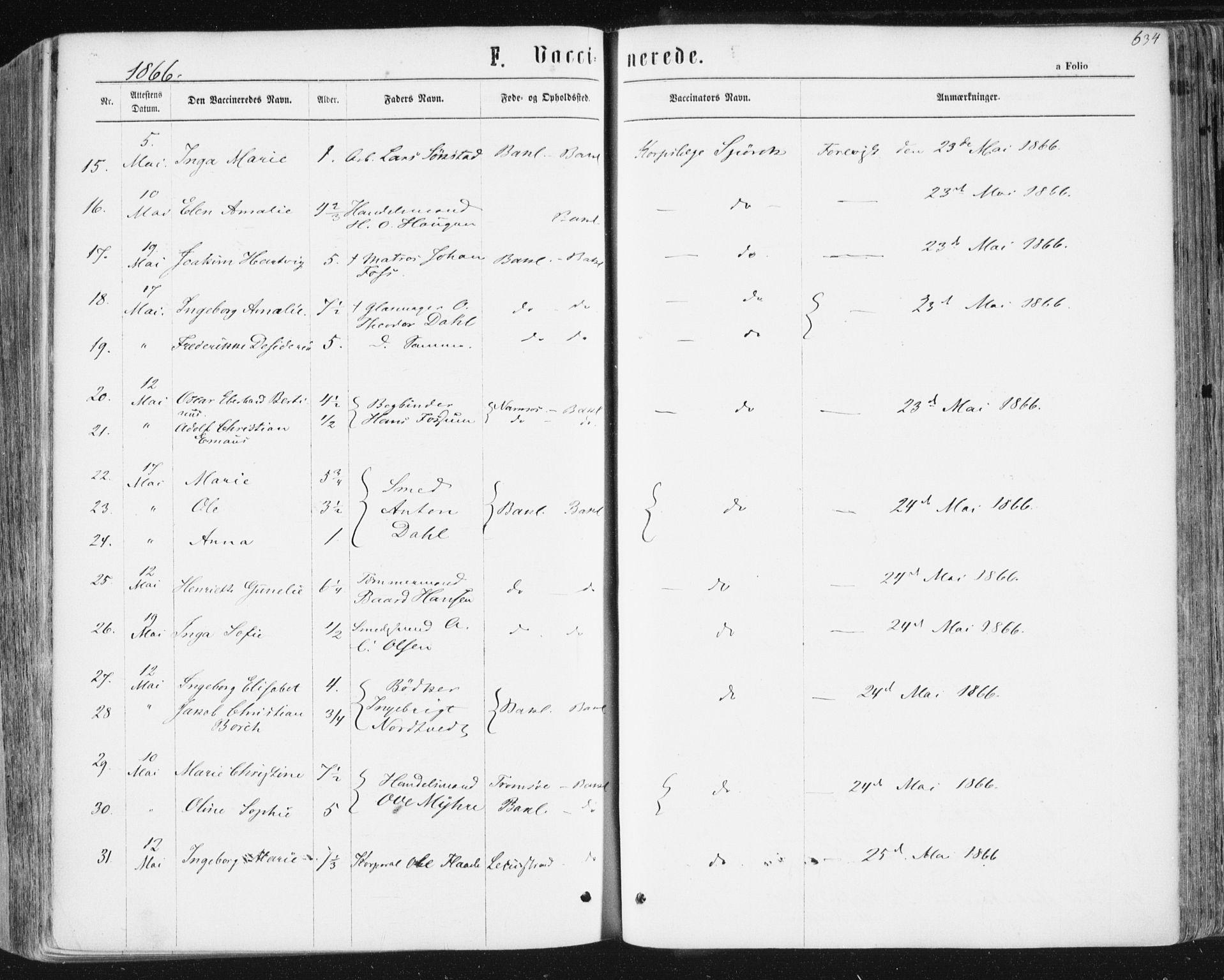 SAT, Ministerialprotokoller, klokkerbøker og fødselsregistre - Sør-Trøndelag, 604/L0186: Ministerialbok nr. 604A07, 1866-1877, s. 634