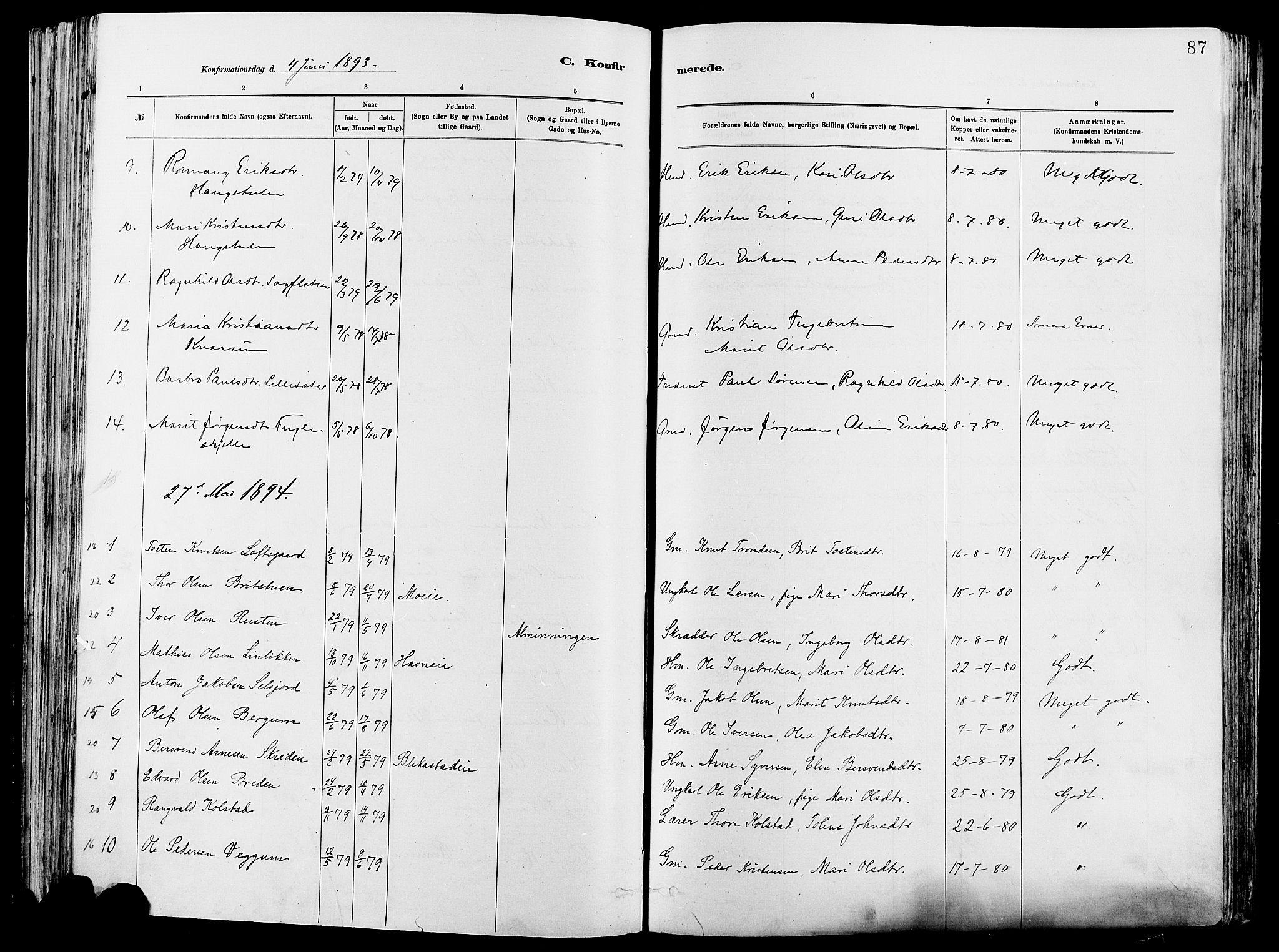 SAH, Vågå prestekontor, Ministerialbok nr. 8, 1886-1904, s. 87