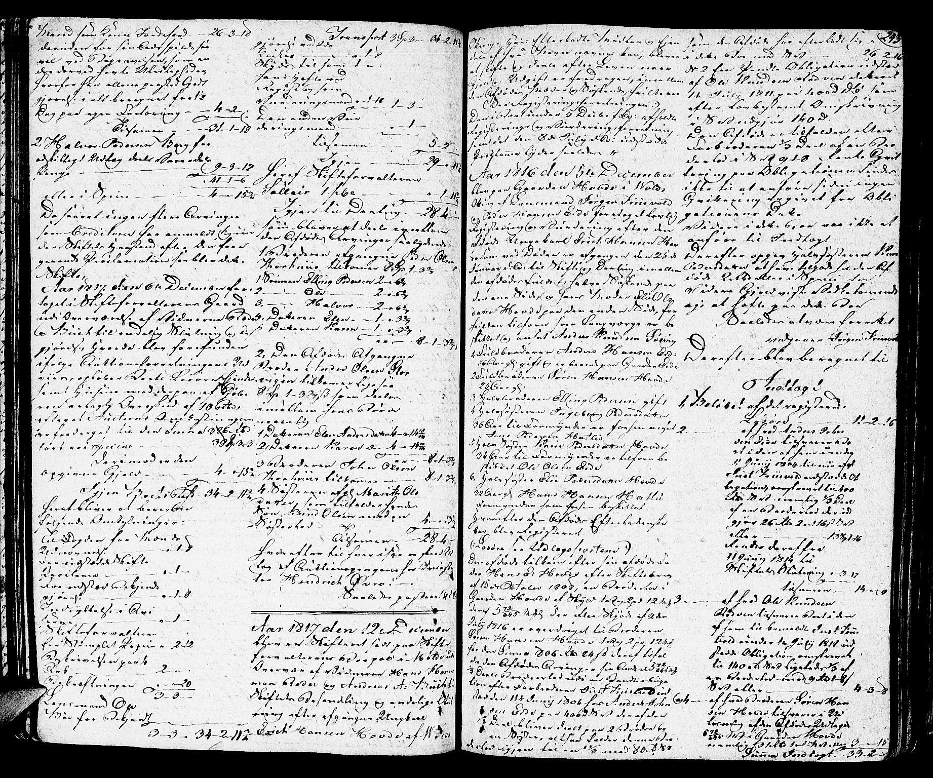 SAT, Romsdal sorenskriveri, 3/3A/L0014: Skifteprotokoll, 1811-1821, s. 242b-243a