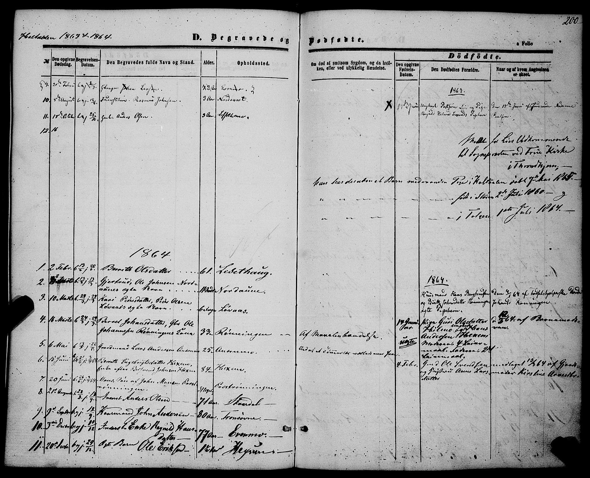 SAT, Ministerialprotokoller, klokkerbøker og fødselsregistre - Sør-Trøndelag, 685/L0966: Ministerialbok nr. 685A07 /1, 1860-1869, s. 200