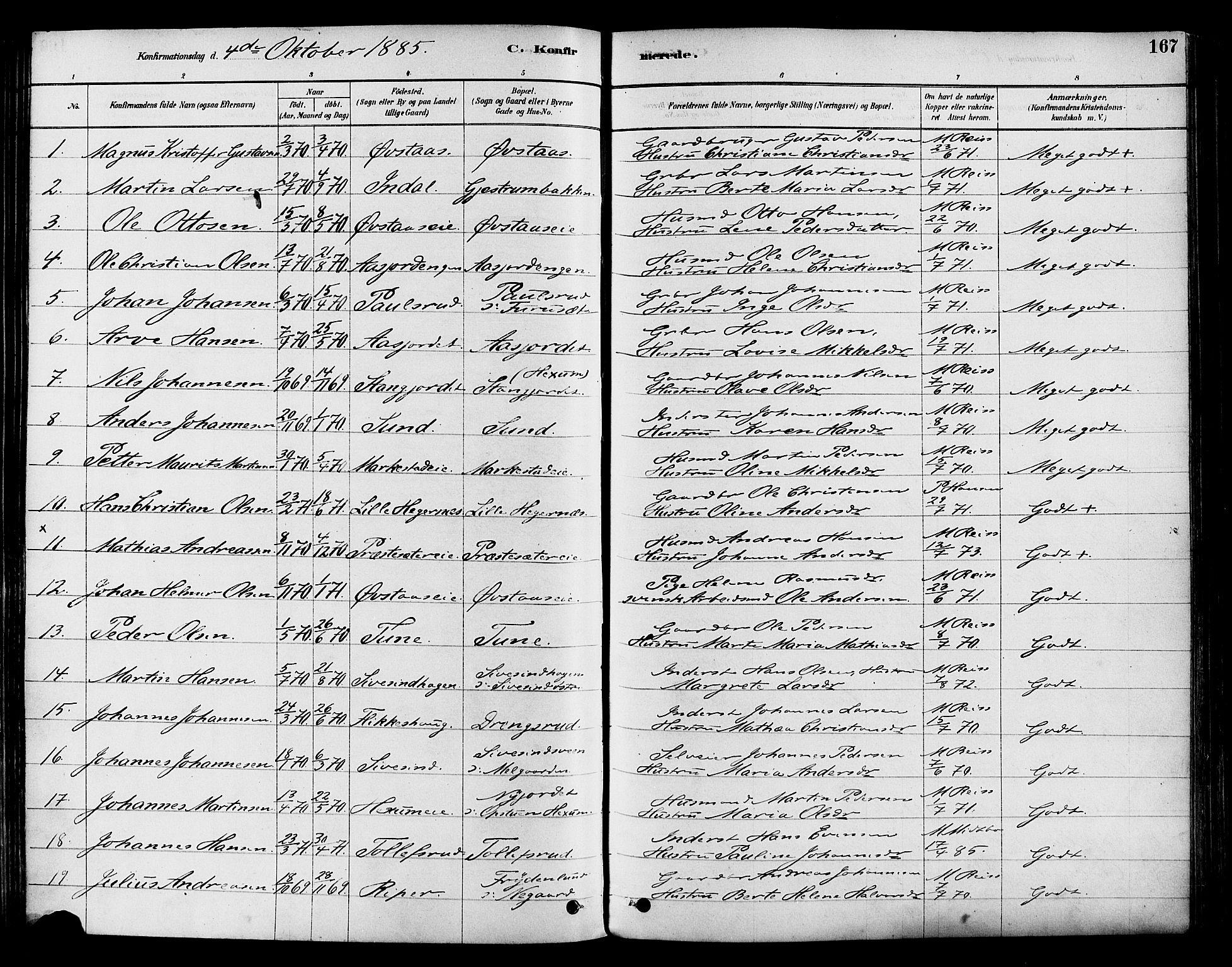 SAH, Vestre Toten prestekontor, H/Ha/Haa/L0009: Ministerialbok nr. 9, 1878-1894, s. 167