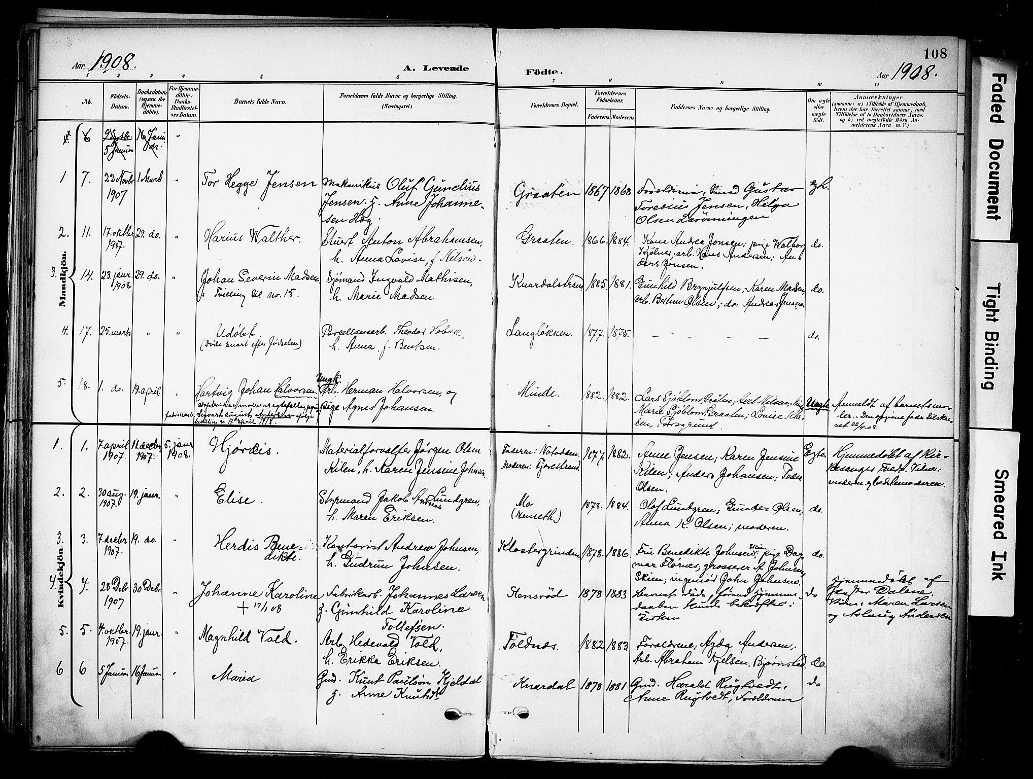 SAKO, Solum kirkebøker, F/Fa/L0011: Ministerialbok nr. I 11, 1898-1909, s. 108