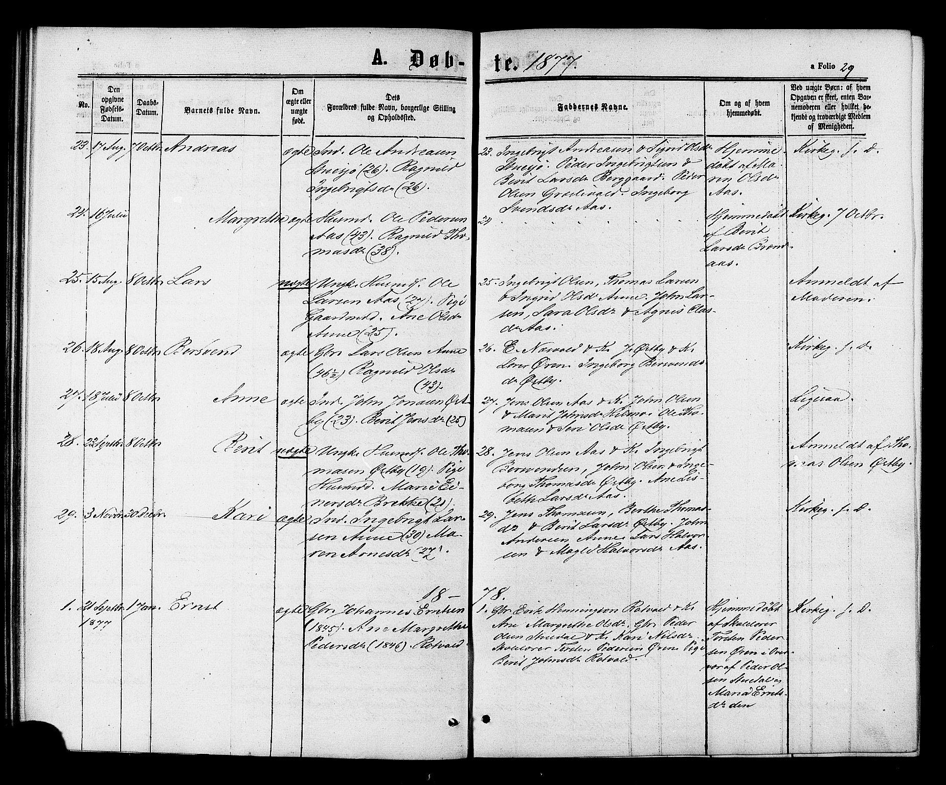 SAT, Ministerialprotokoller, klokkerbøker og fødselsregistre - Sør-Trøndelag, 698/L1163: Ministerialbok nr. 698A01, 1862-1887, s. 29