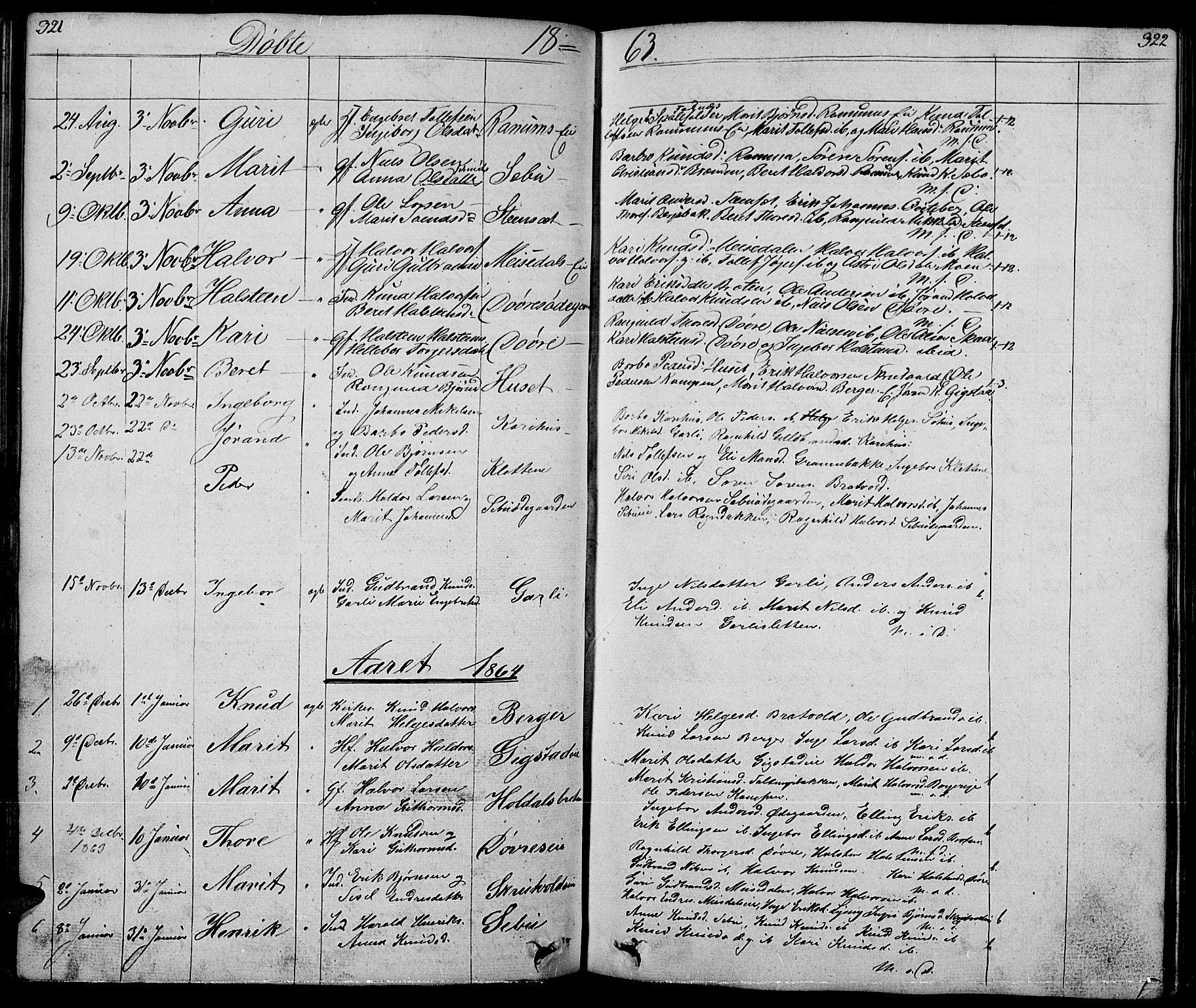 SAH, Nord-Aurdal prestekontor, Klokkerbok nr. 1, 1834-1887, s. 321-322