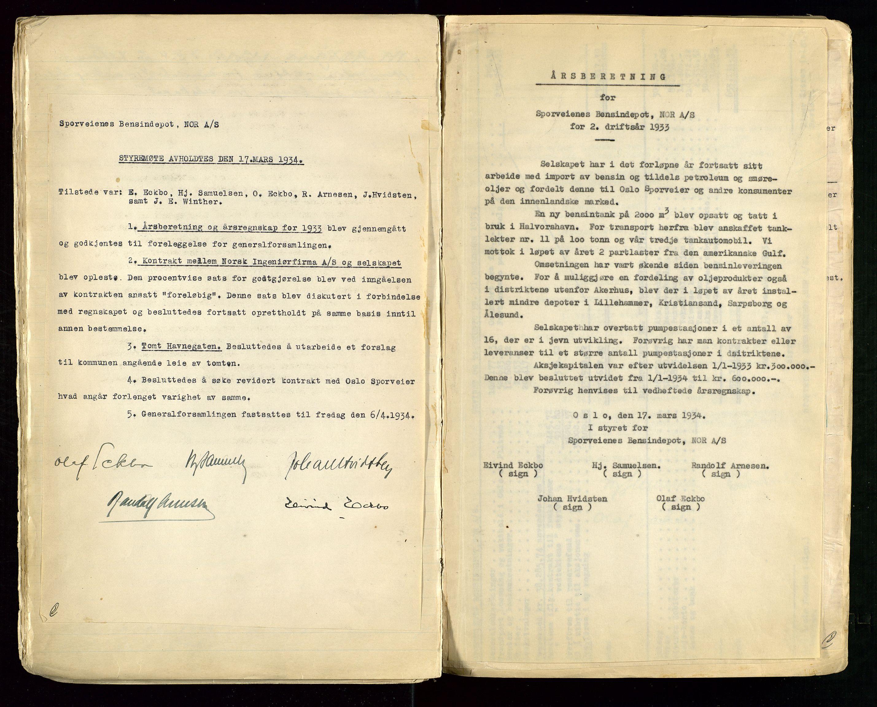 SAST, PA 1514 - Sporveienes Bensindepot, Norsk Oljeraffineri A/S, A/L0001: Styreprotokoll. Forhandlingsprotokoll Arbeidsutvaget, 1932-1949, s. 18