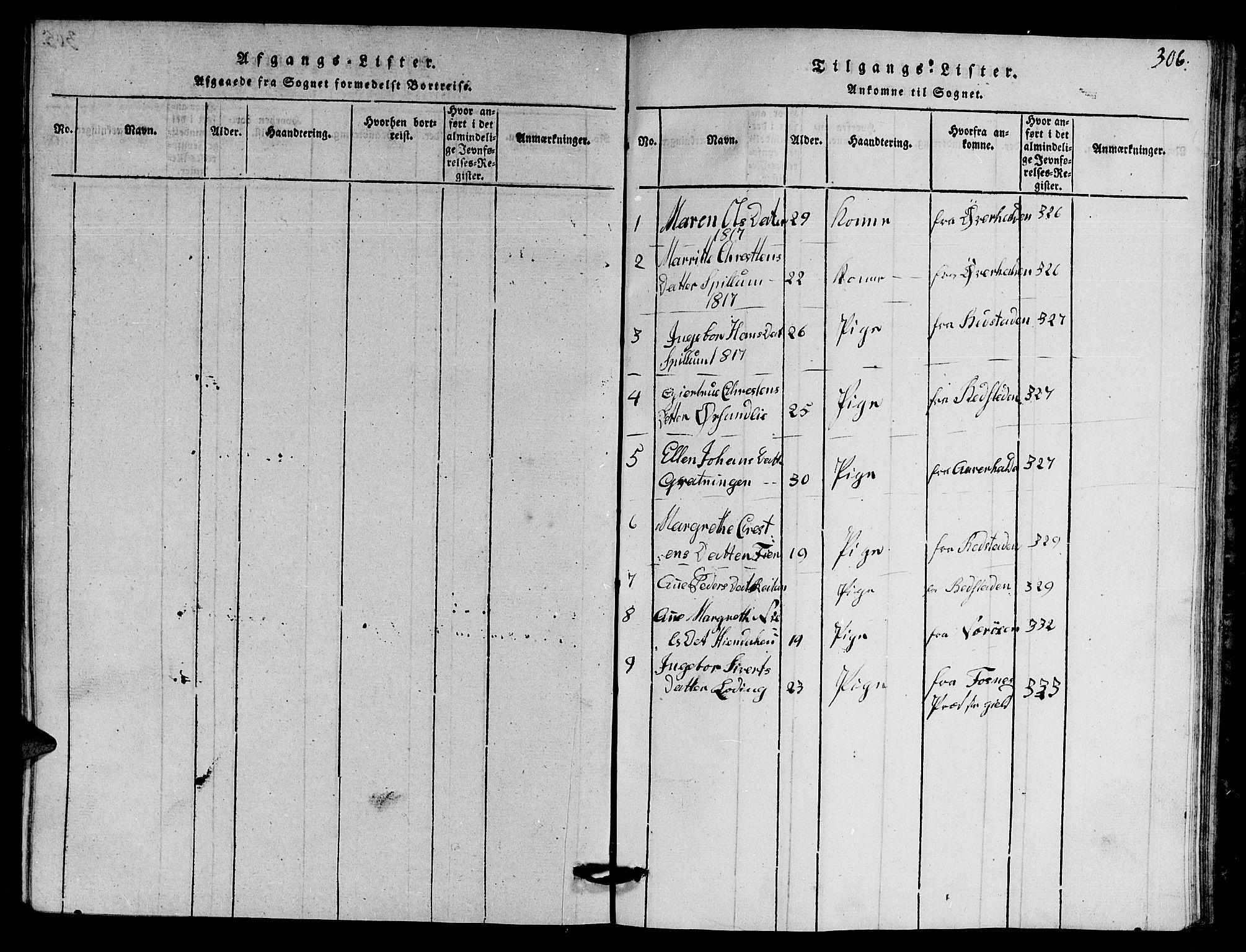 SAT, Ministerialprotokoller, klokkerbøker og fødselsregistre - Nord-Trøndelag, 770/L0590: Klokkerbok nr. 770C01, 1815-1824, s. 306