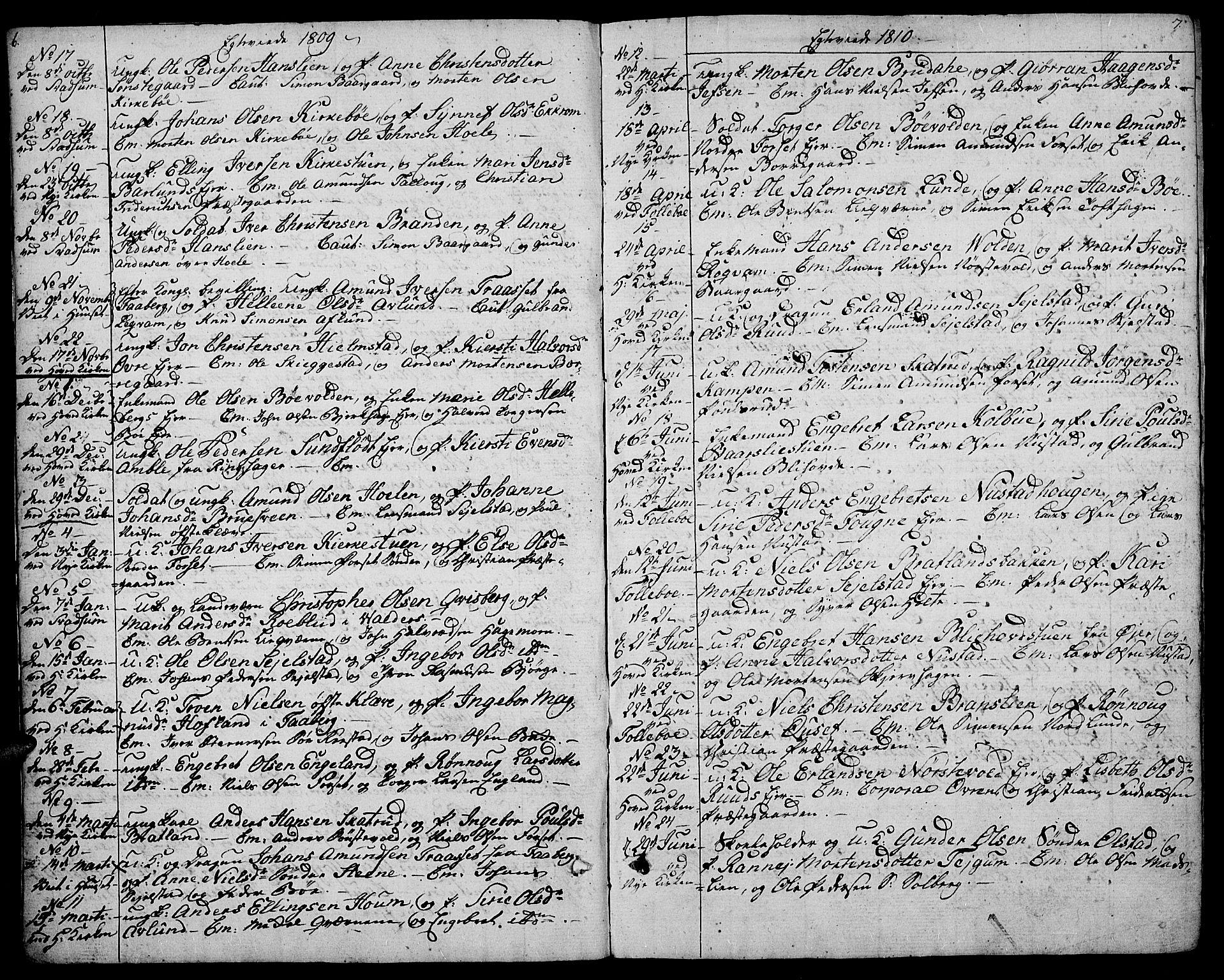 SAH, Gausdal prestekontor, Ministerialbok nr. 4, 1809-1817, s. 6-7