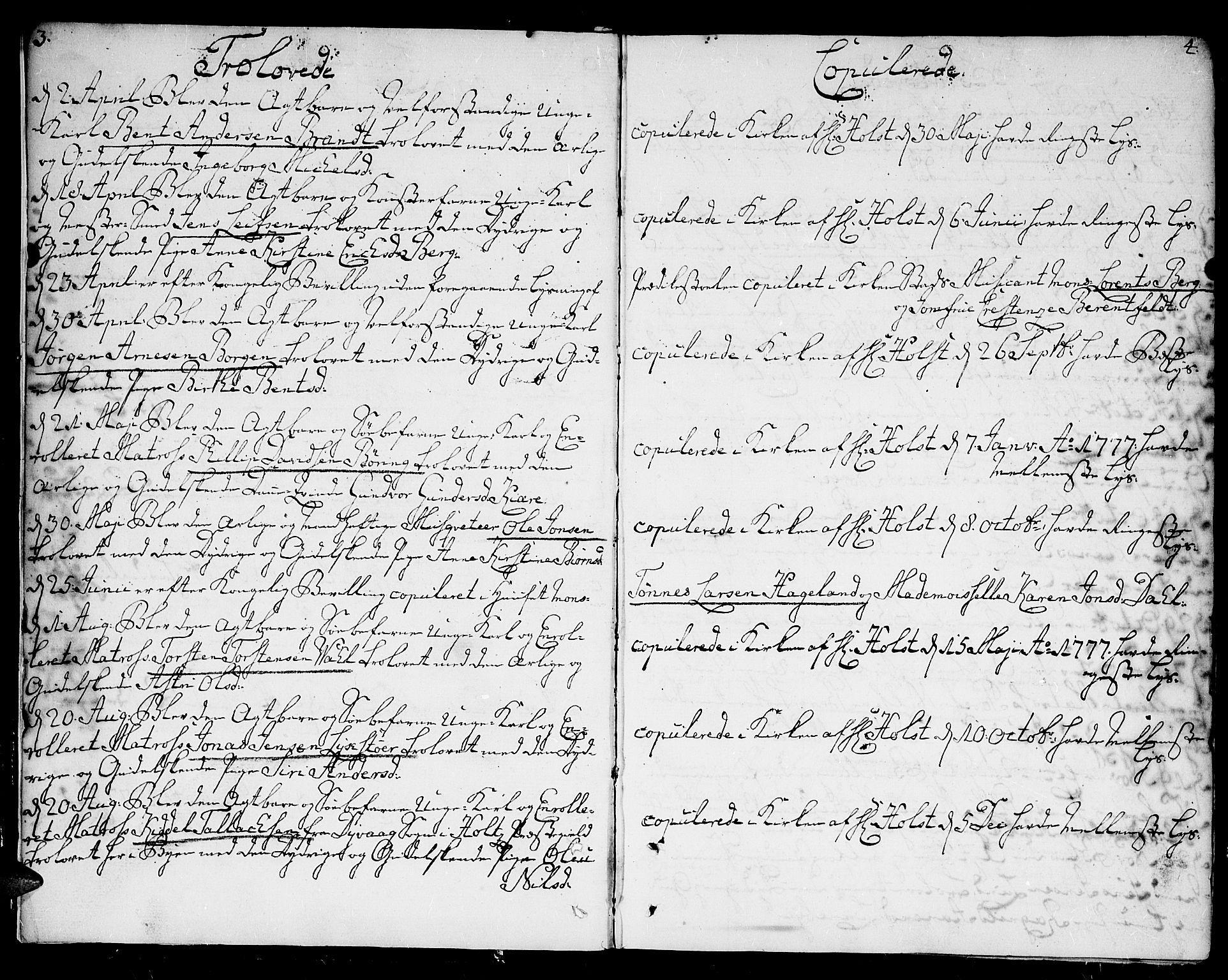 SAK, Kristiansand domprosti, F/Fa/L0005: Ministerialbok nr. A 5, 1776-1818, s. 3-4