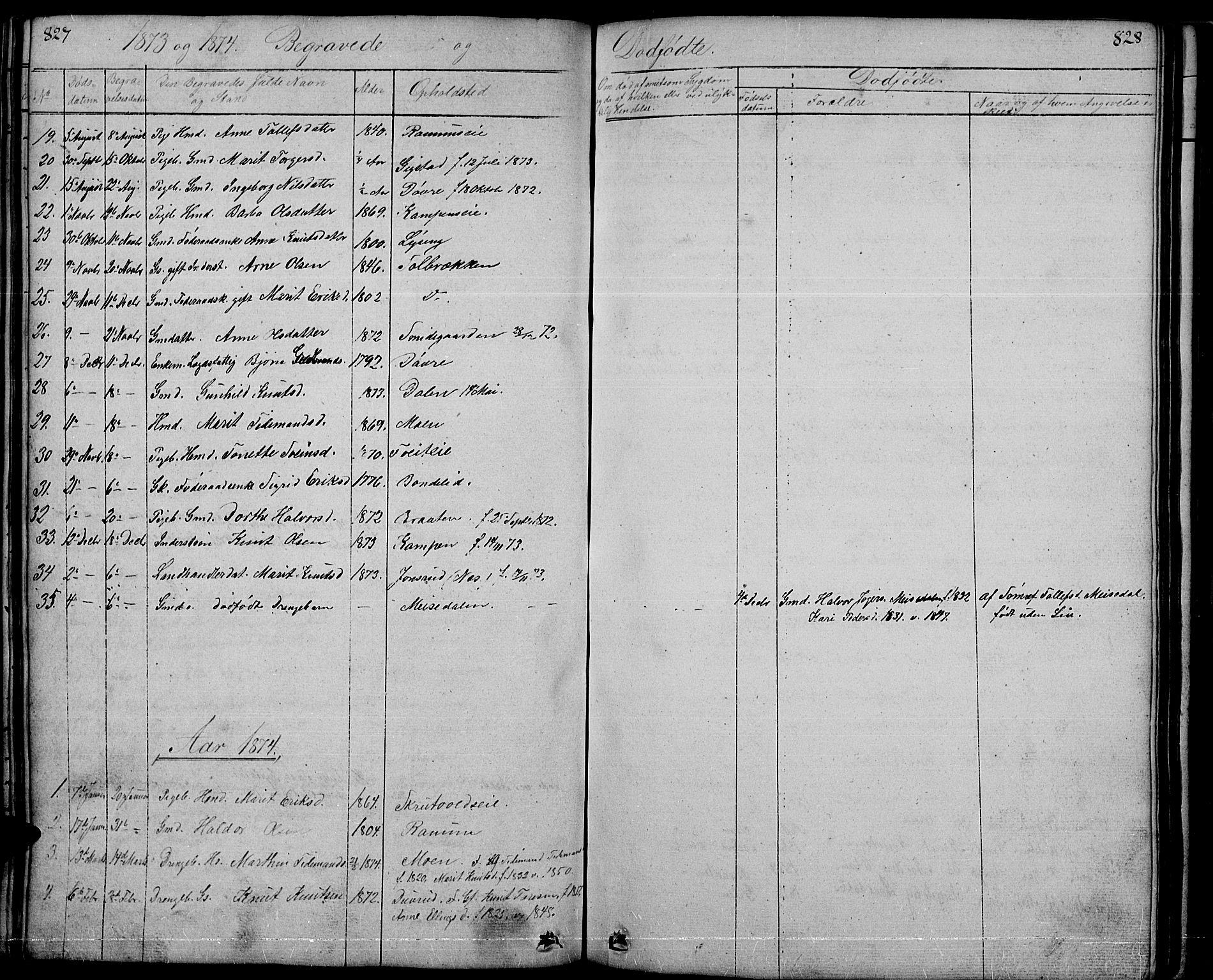 SAH, Nord-Aurdal prestekontor, Klokkerbok nr. 1, 1834-1887, s. 827-828