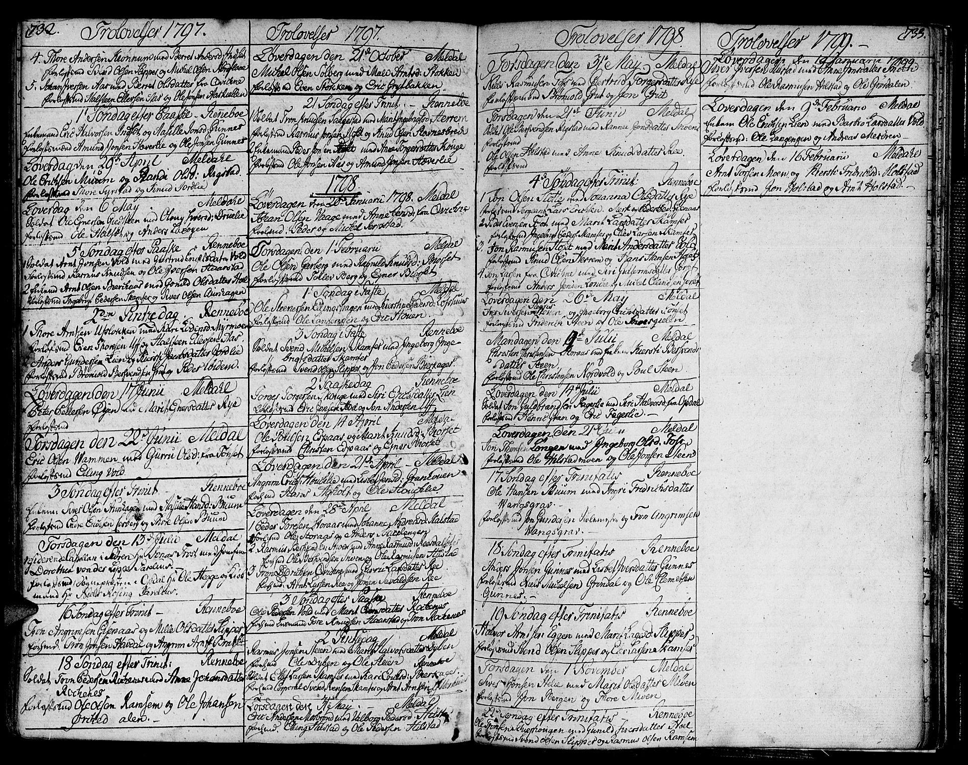 SAT, Ministerialprotokoller, klokkerbøker og fødselsregistre - Sør-Trøndelag, 672/L0852: Ministerialbok nr. 672A05, 1776-1815, s. 732-733