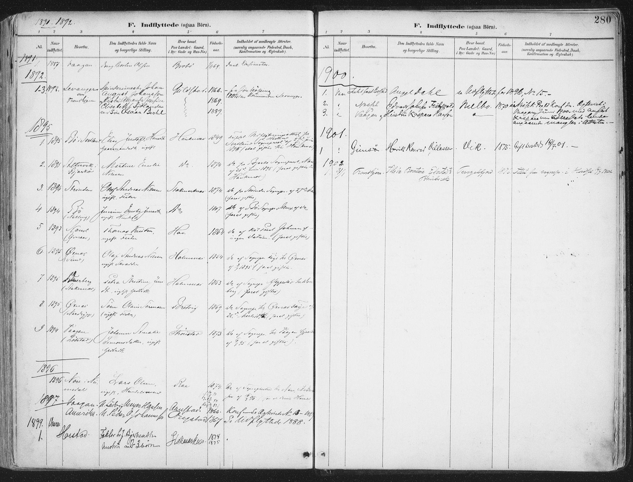 SAT, Ministerialprotokoller, klokkerbøker og fødselsregistre - Nordland, 888/L1246: Ministerialbok nr. 888A12, 1891-1903, s. 280