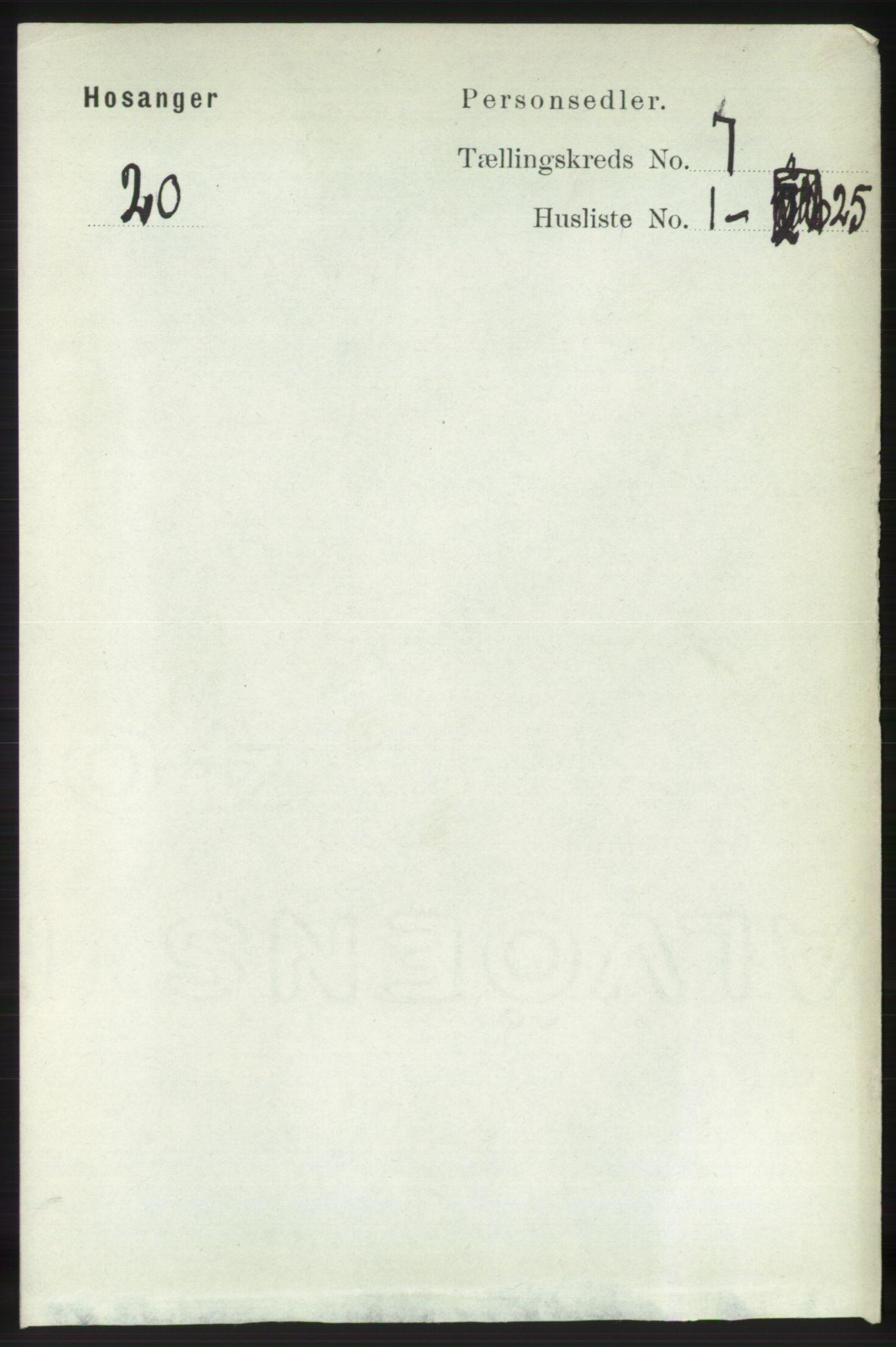 RA, Folketelling 1891 for 1253 Hosanger herred, 1891, s. 2490