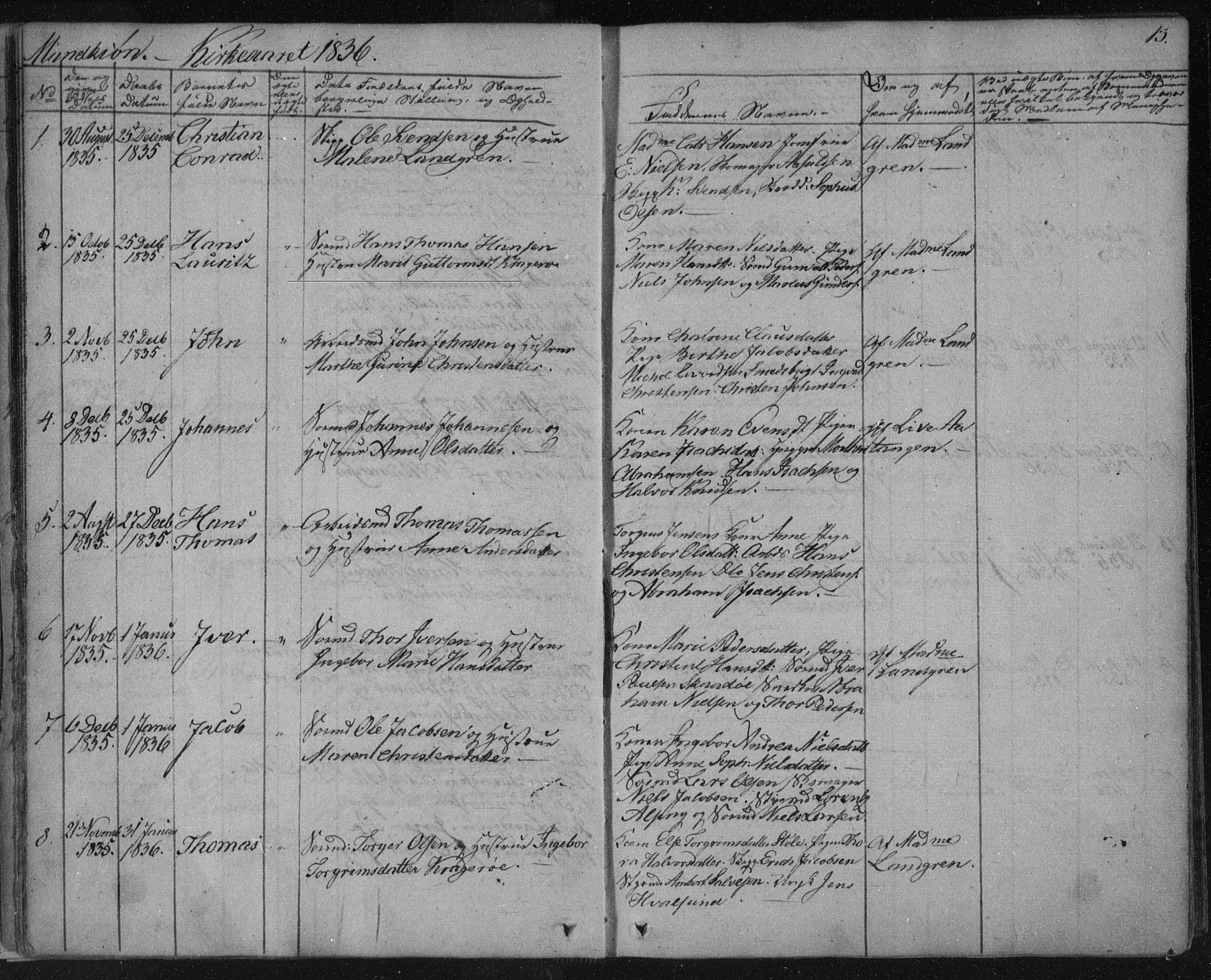 SAKO, Kragerø kirkebøker, F/Fa/L0005: Ministerialbok nr. 5, 1832-1847, s. 13