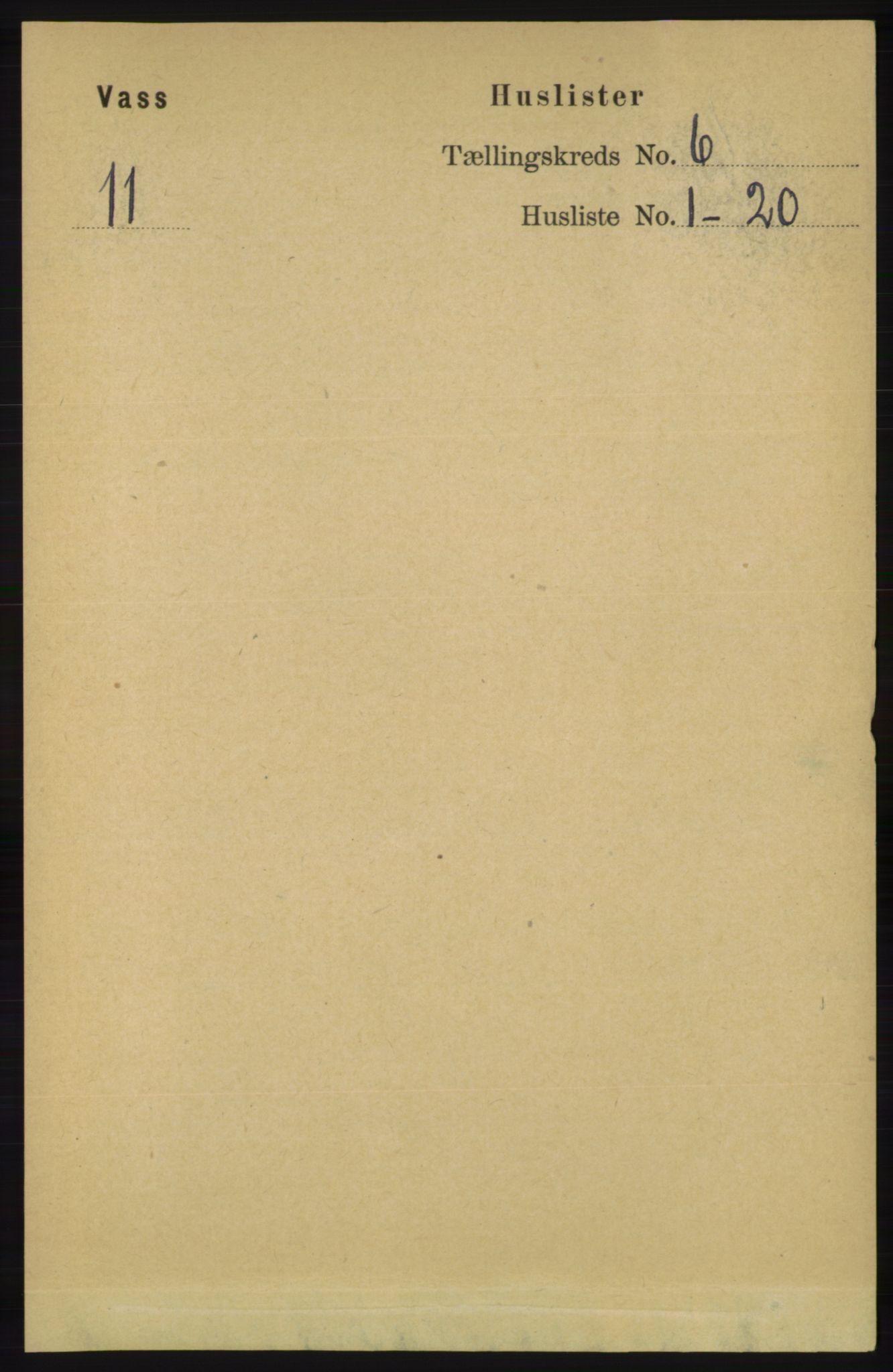 RA, Folketelling 1891 for 1155 Vats herred, 1891, s. 925