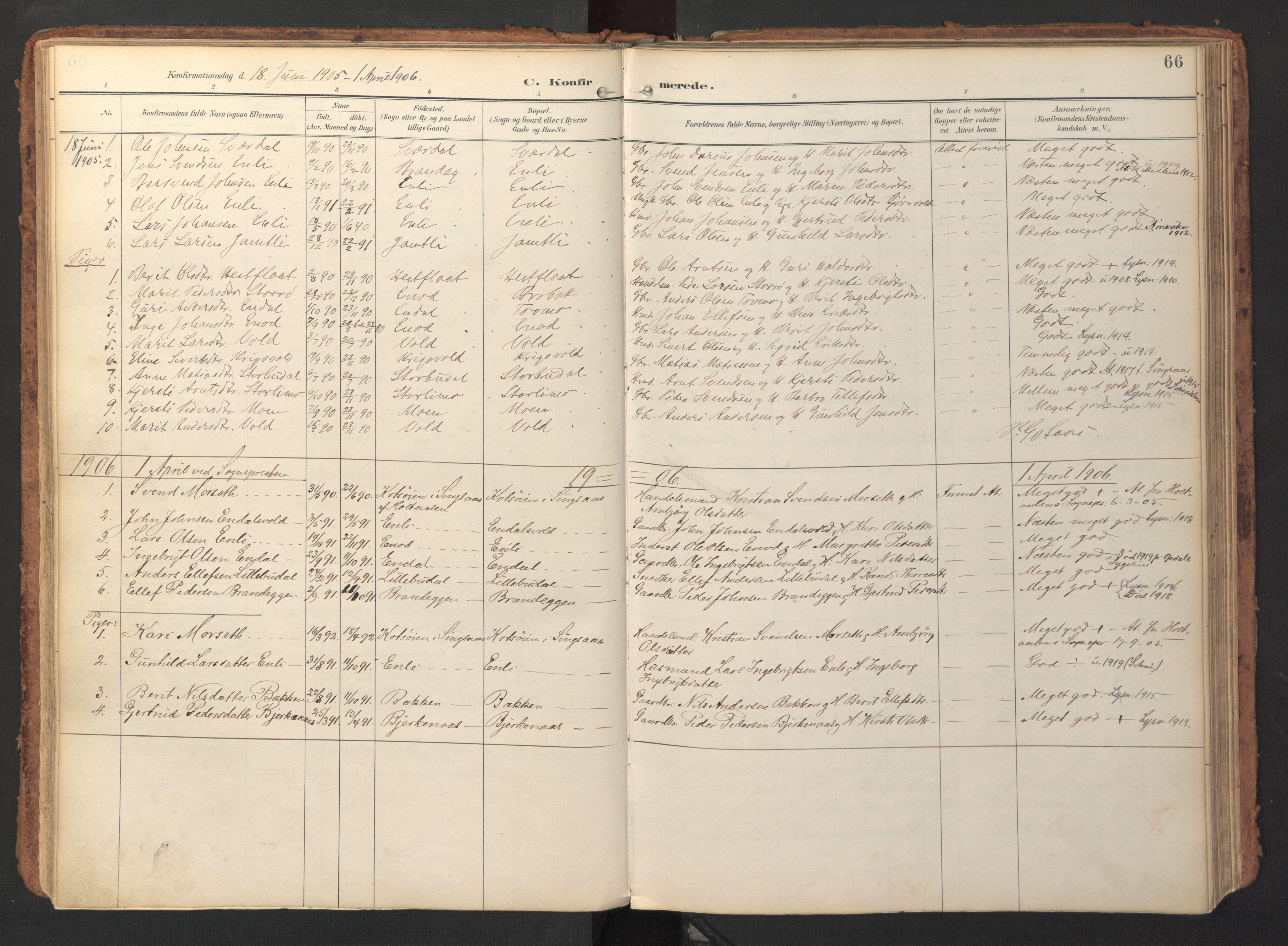SAT, Ministerialprotokoller, klokkerbøker og fødselsregistre - Sør-Trøndelag, 690/L1050: Ministerialbok nr. 690A01, 1889-1929, s. 66