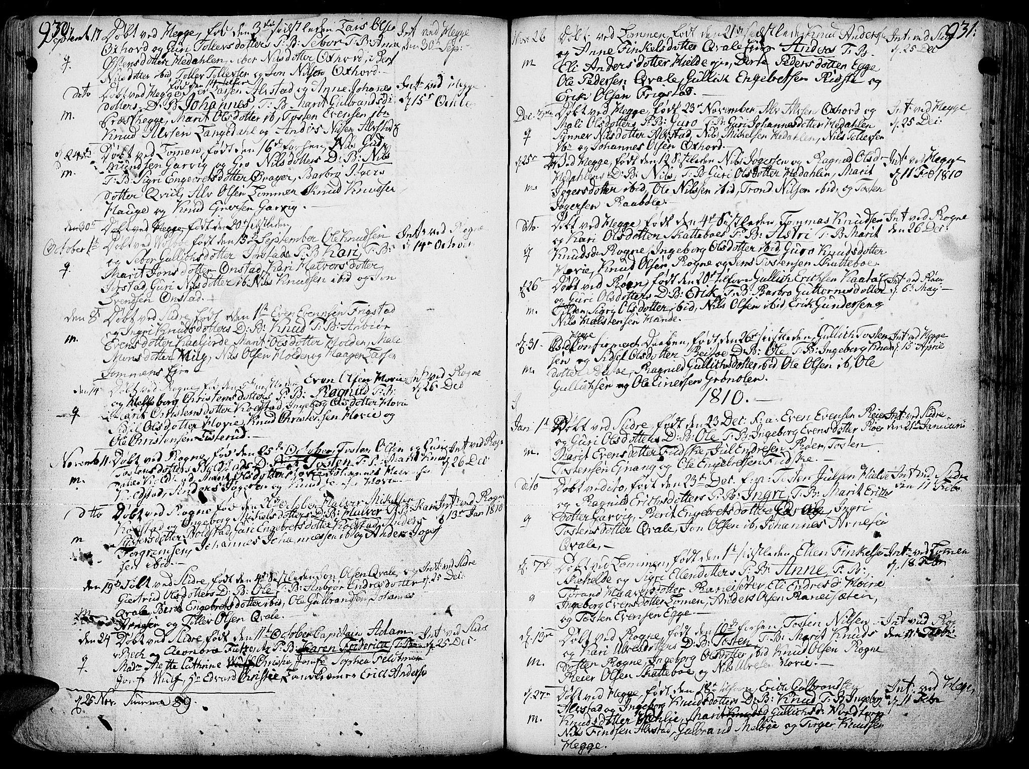 SAH, Slidre prestekontor, Ministerialbok nr. 1, 1724-1814, s. 930-931