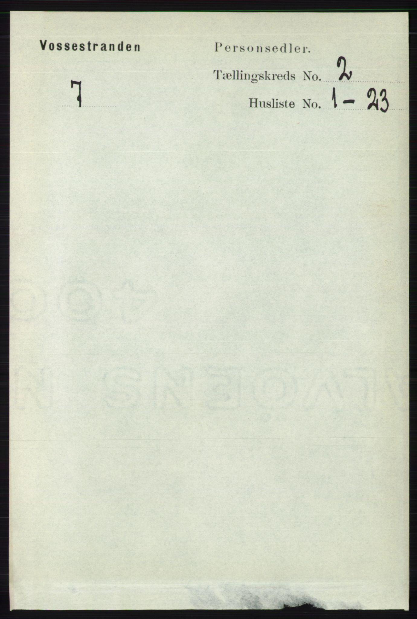 RA, Folketelling 1891 for 1236 Vossestrand herred, 1891, s. 718