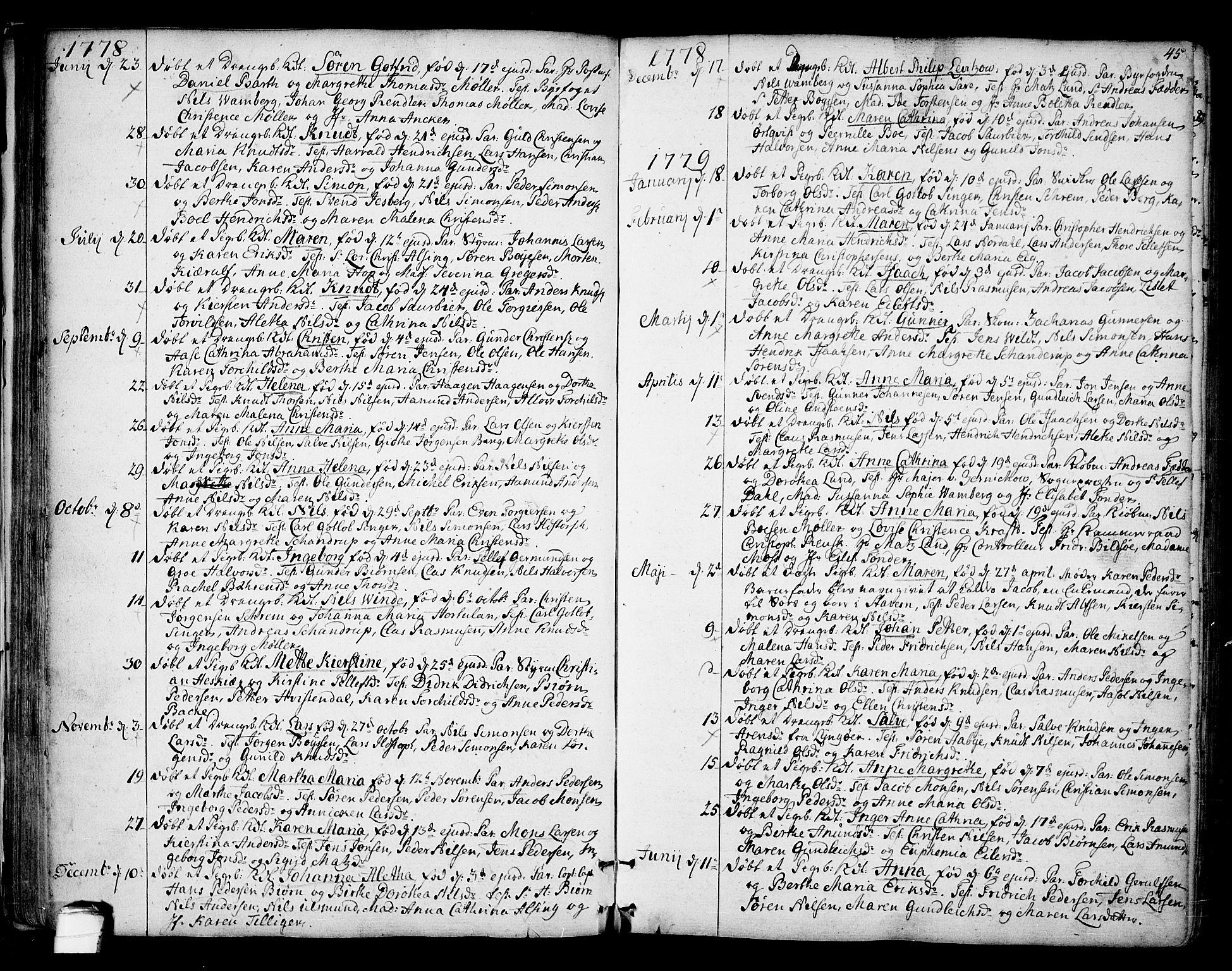 SAKO, Kragerø kirkebøker, F/Fa/L0002: Ministerialbok nr. 2, 1767-1802, s. 45