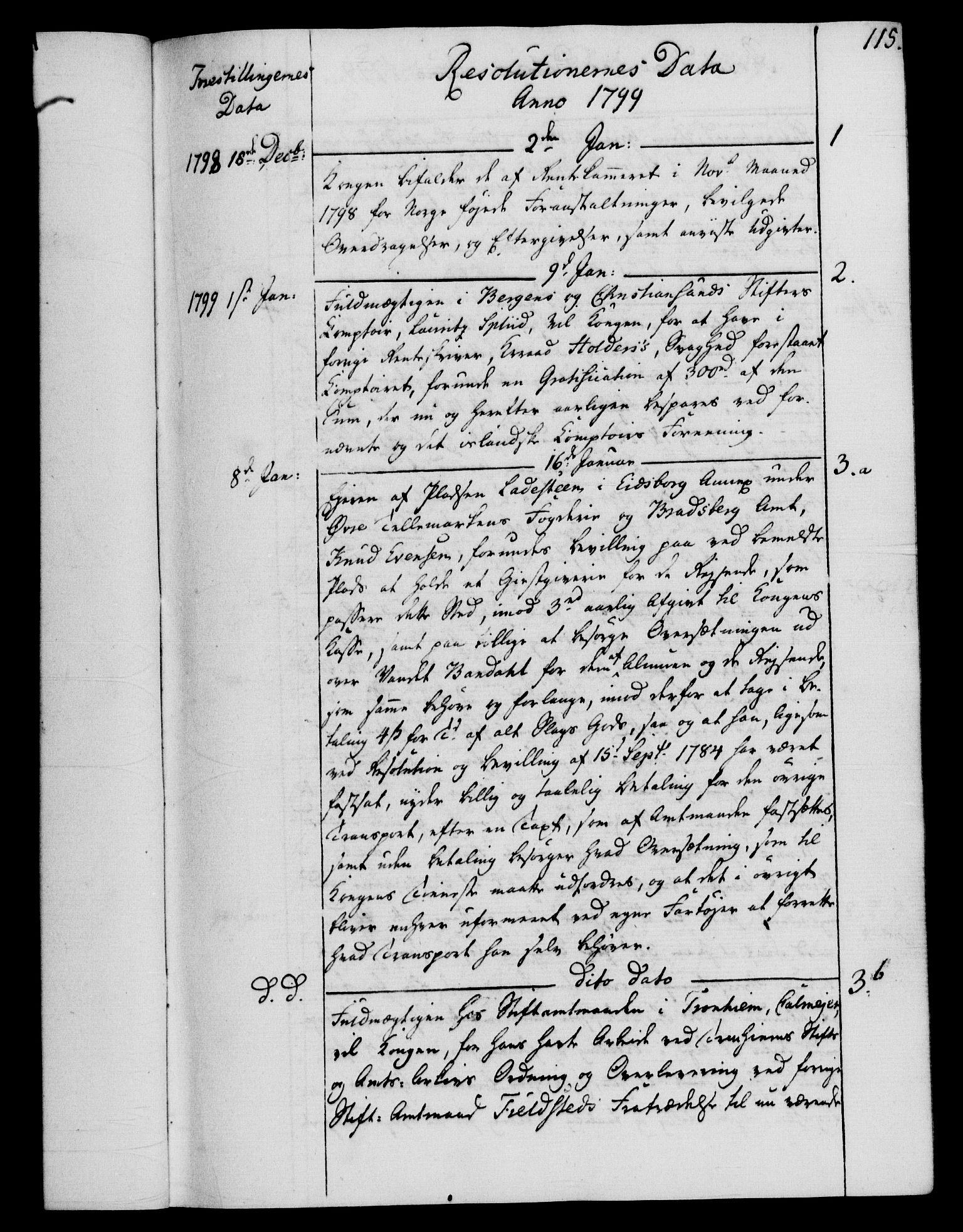 RA, Rentekammeret, Kammerkanselliet, G/Gf/Gfb/L0015: Register til norske relasjons- og resolusjonsprotokoller (merket RK 52.110), 1799-1800, s. 115