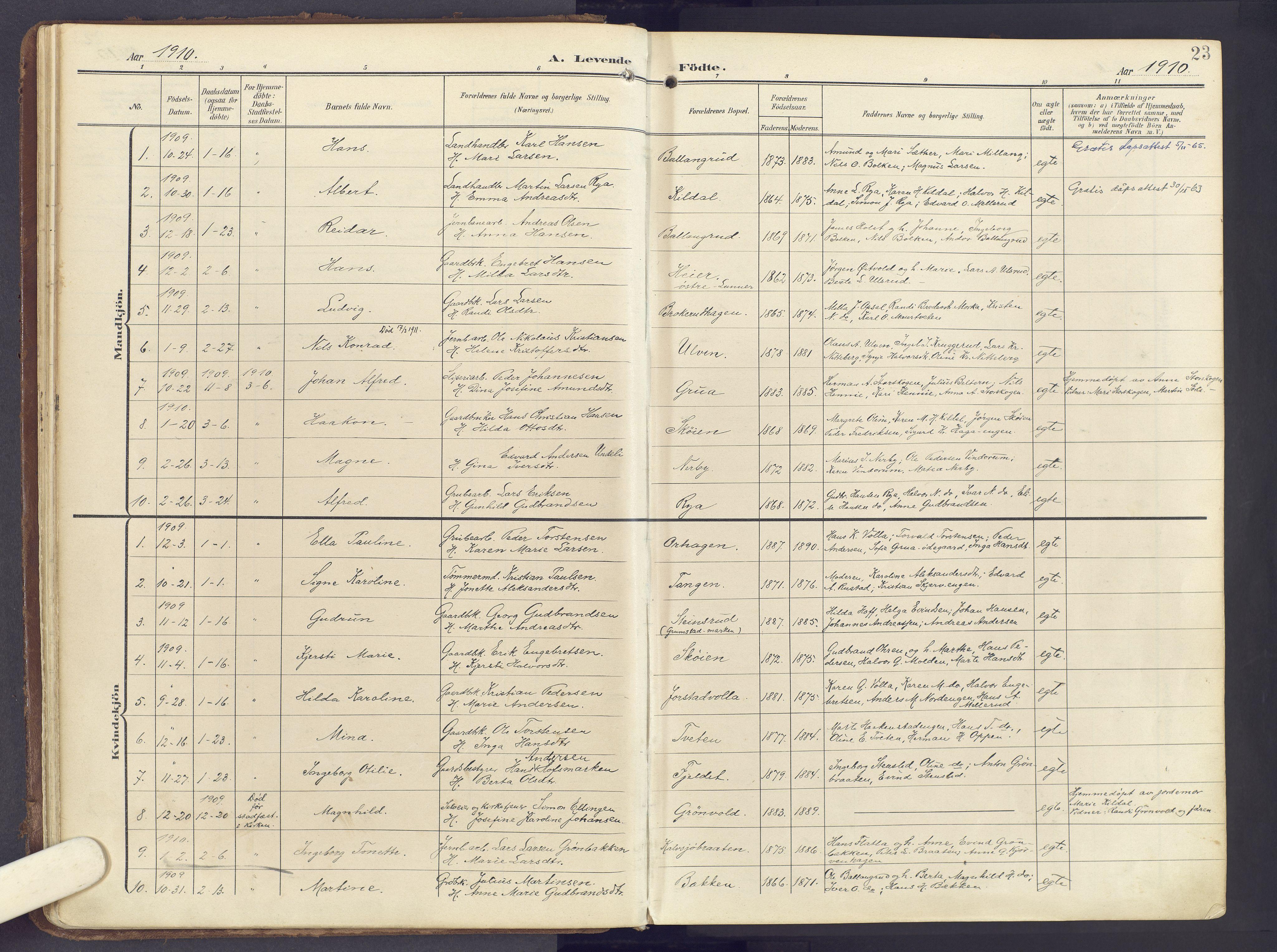 SAH, Lunner prestekontor, H/Ha/Haa/L0001: Ministerialbok nr. 1, 1907-1922, s. 23