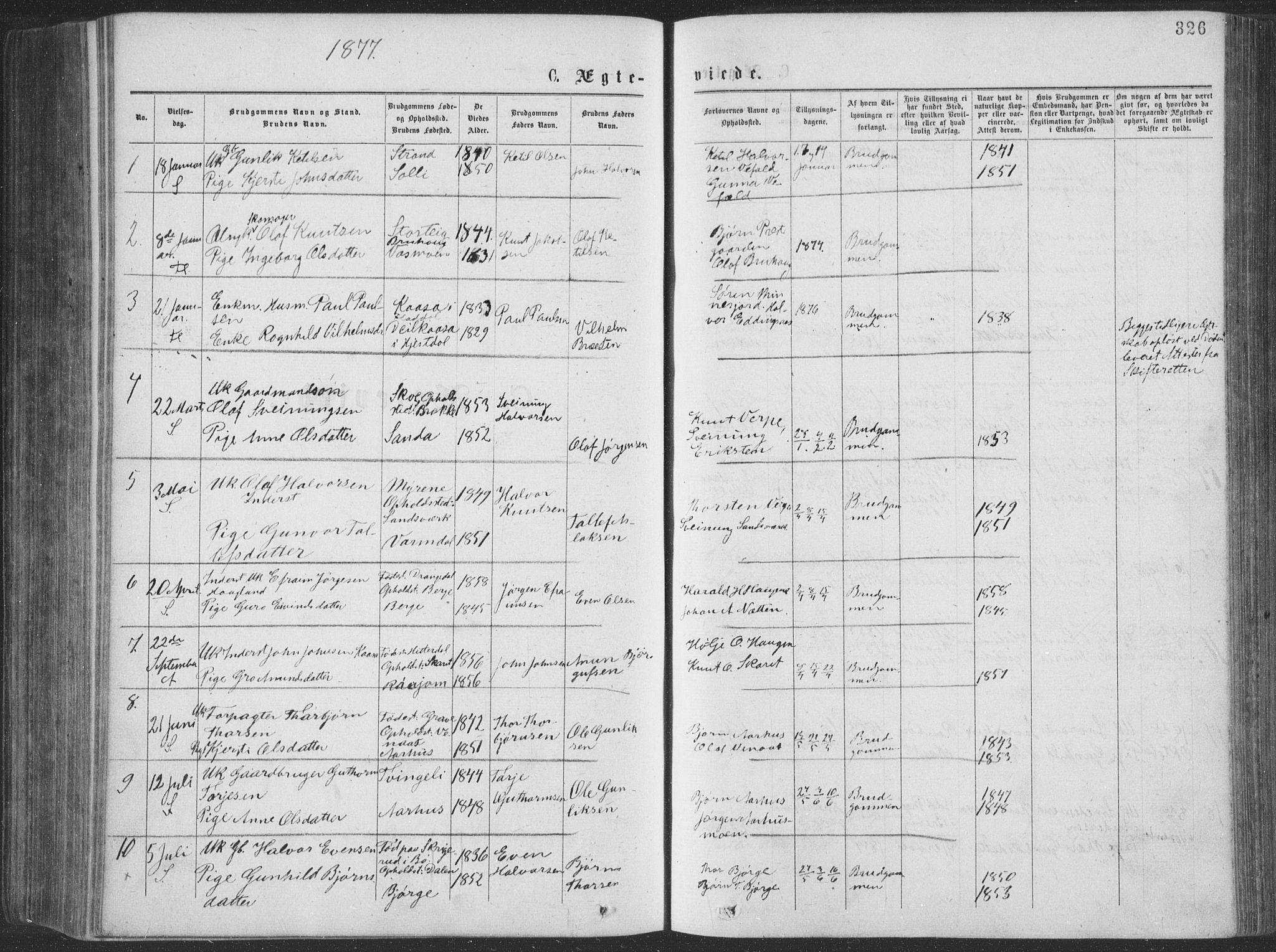 SAKO, Seljord kirkebøker, F/Fa/L0014: Ministerialbok nr. I 14, 1877-1886, s. 326