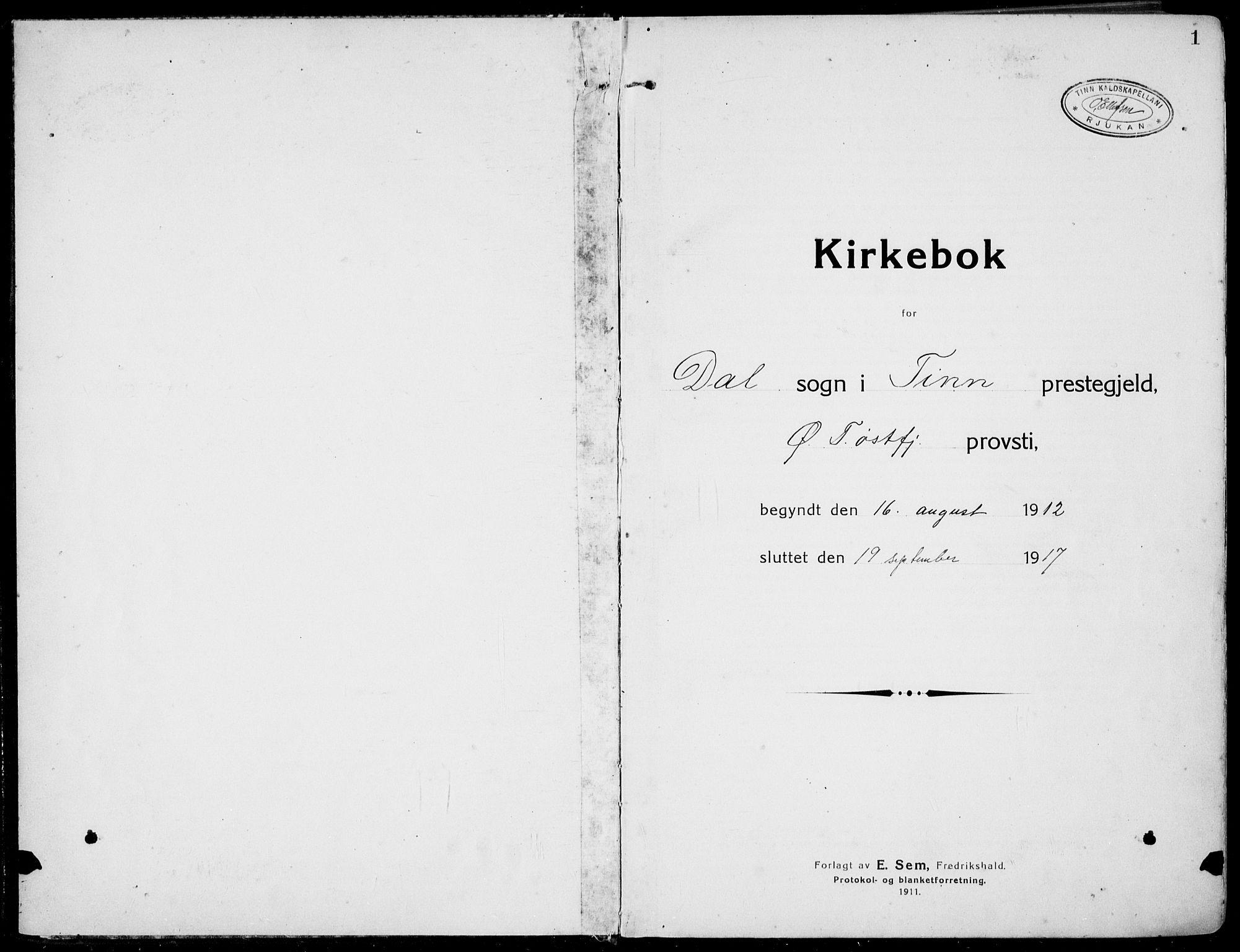 SAKO, Rjukan kirkebøker, F/Fa/L0002: Ministerialbok nr. 2, 1912-1917, s. 1