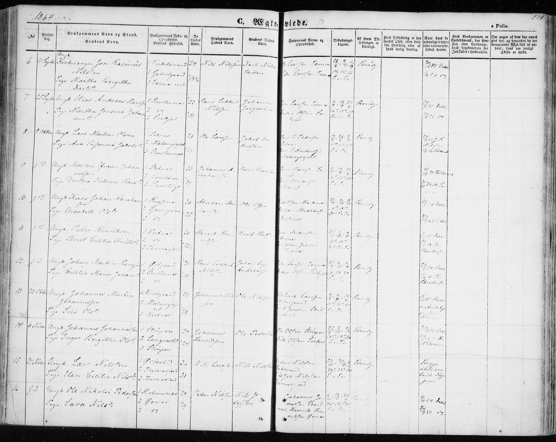 SATØ, Balsfjord sokneprestembete, Ministerialbok nr. 3, 1856-1870, s. 174