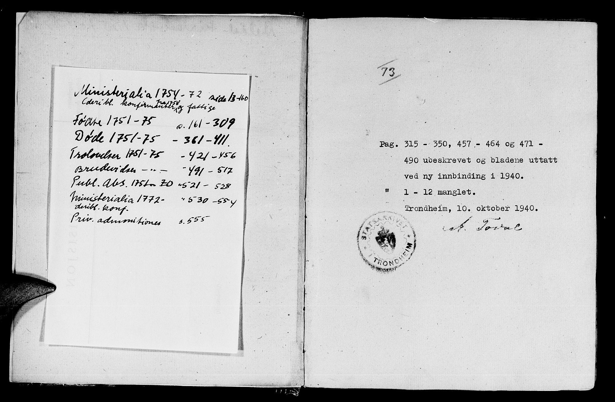 SAT, Ministerialprotokoller, klokkerbøker og fødselsregistre - Sør-Trøndelag, 672/L0851: Ministerialbok nr. 672A04, 1751-1775