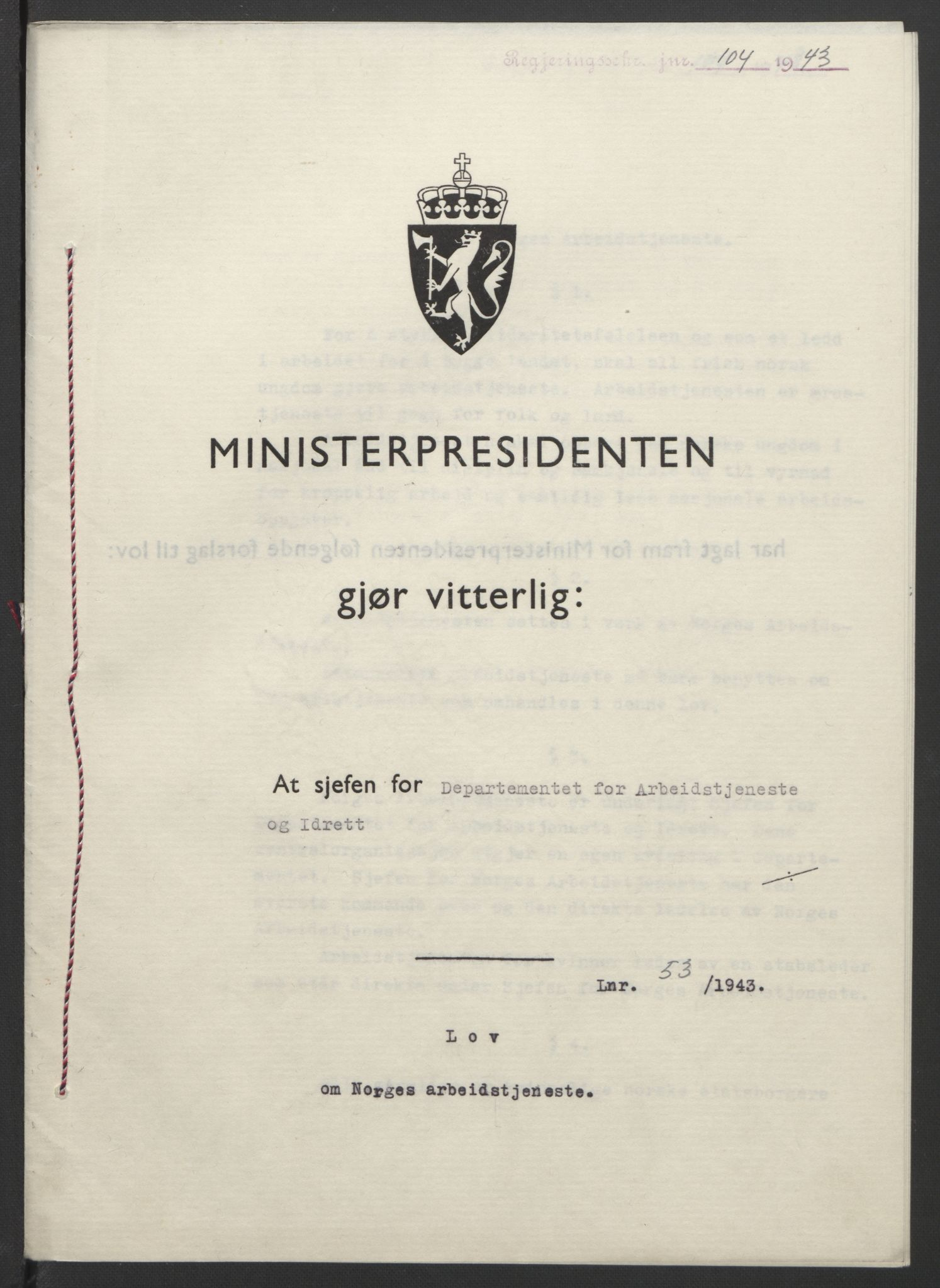 RA, NS-administrasjonen 1940-1945 (Statsrådsekretariatet, de kommisariske statsråder mm), D/Db/L0099: Lover, 1943, s. 230