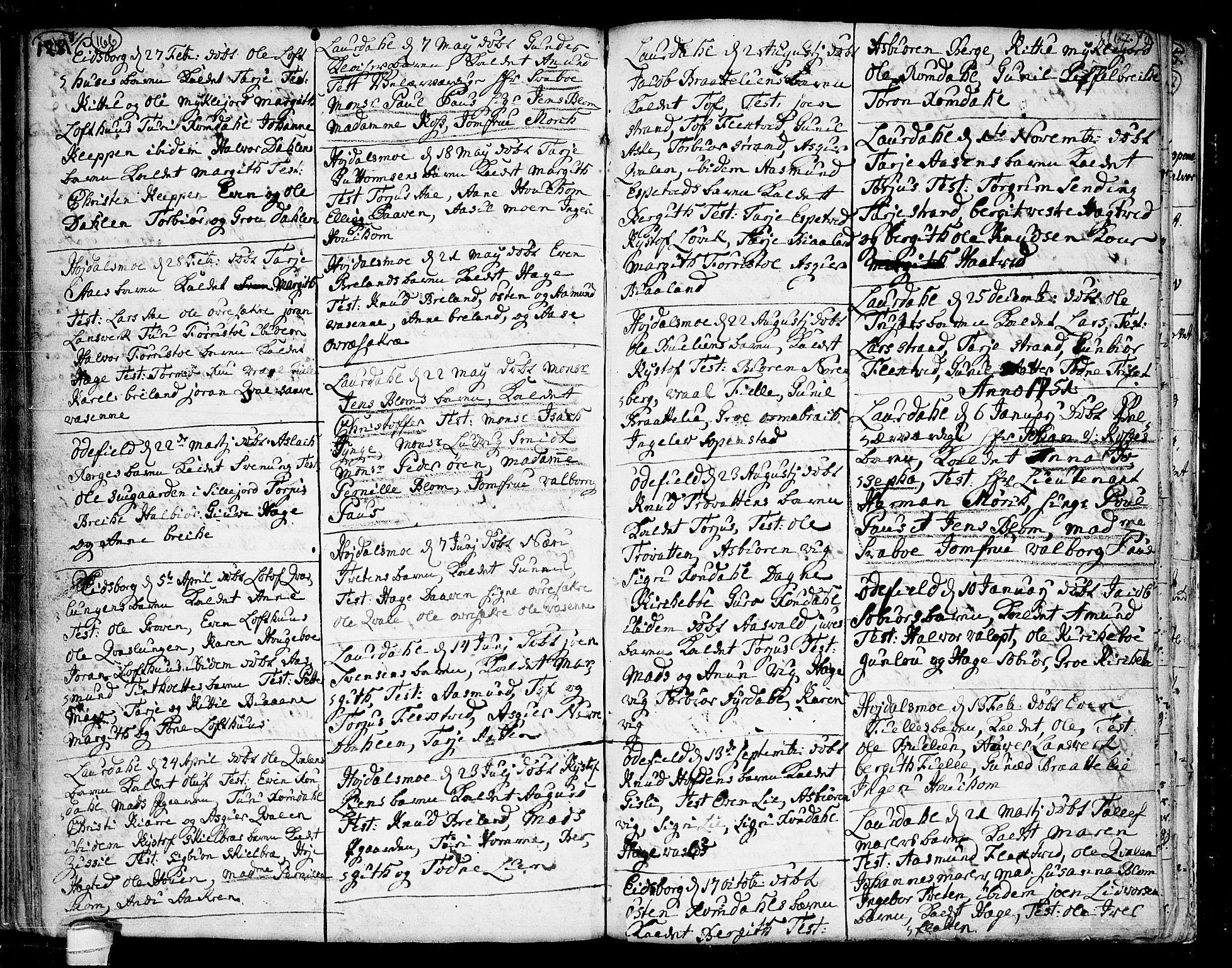 SAKO, Lårdal kirkebøker, F/Fa/L0002: Ministerialbok nr. I 2, 1734-1754, s. 166-167