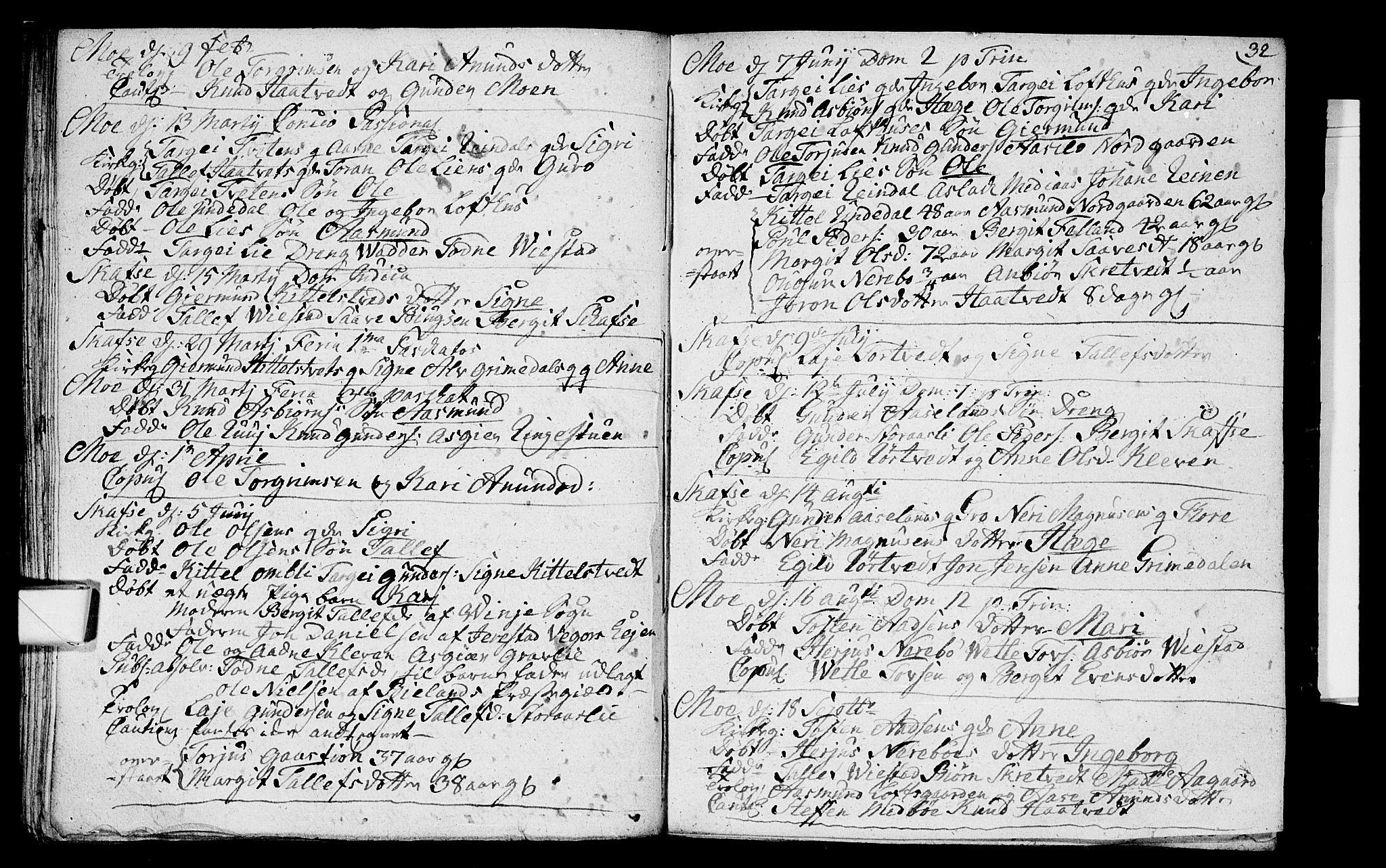 SAKO, Mo kirkebøker, F/Fa/L0001: Ministerialbok nr. I 1, 1724-1748, s. 32