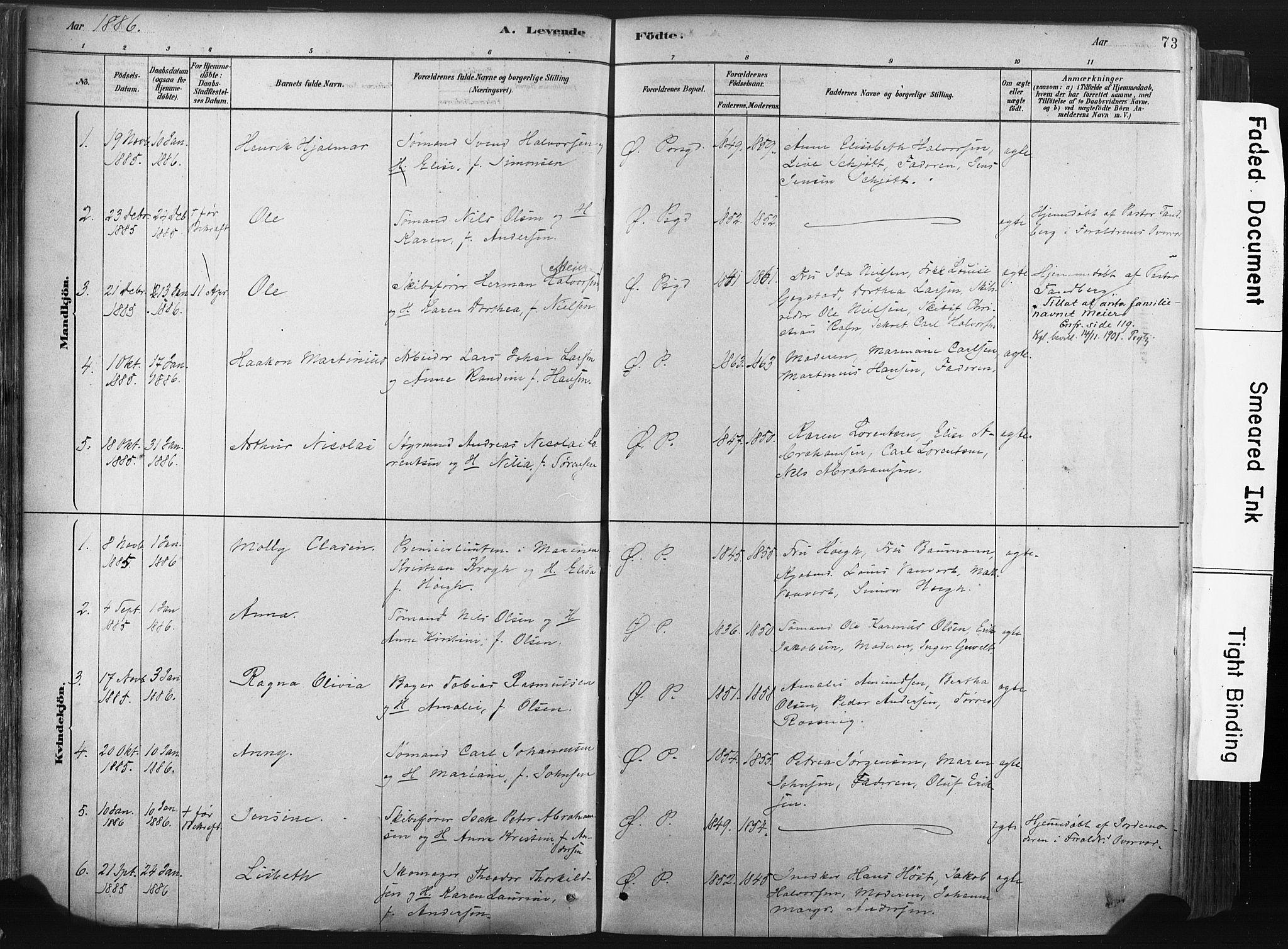 SAKO, Porsgrunn kirkebøker , F/Fa/L0008: Ministerialbok nr. 8, 1878-1895, s. 73