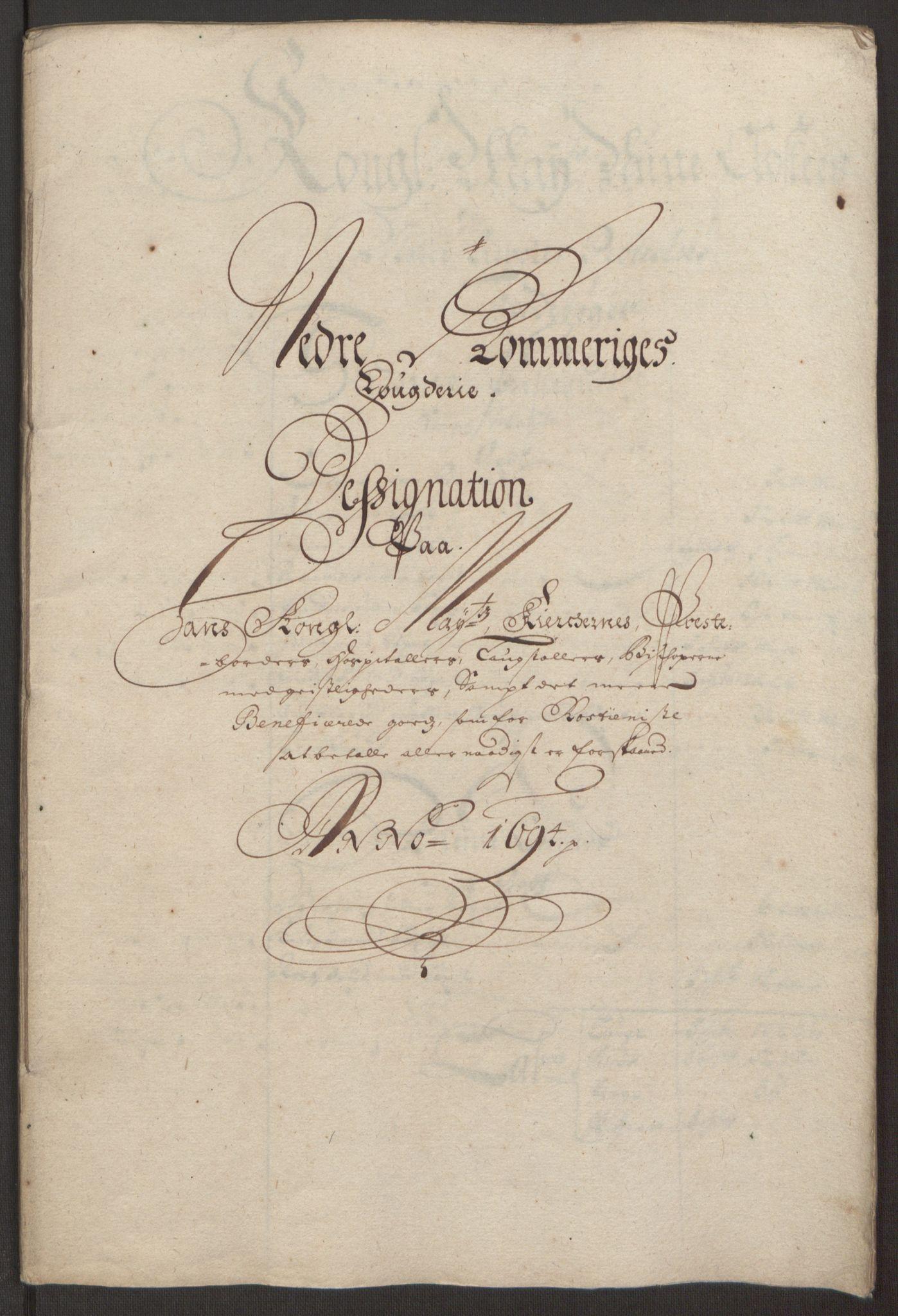 RA, Rentekammeret inntil 1814, Reviderte regnskaper, Fogderegnskap, R11/L0579: Fogderegnskap Nedre Romerike, 1694-1695, s. 165