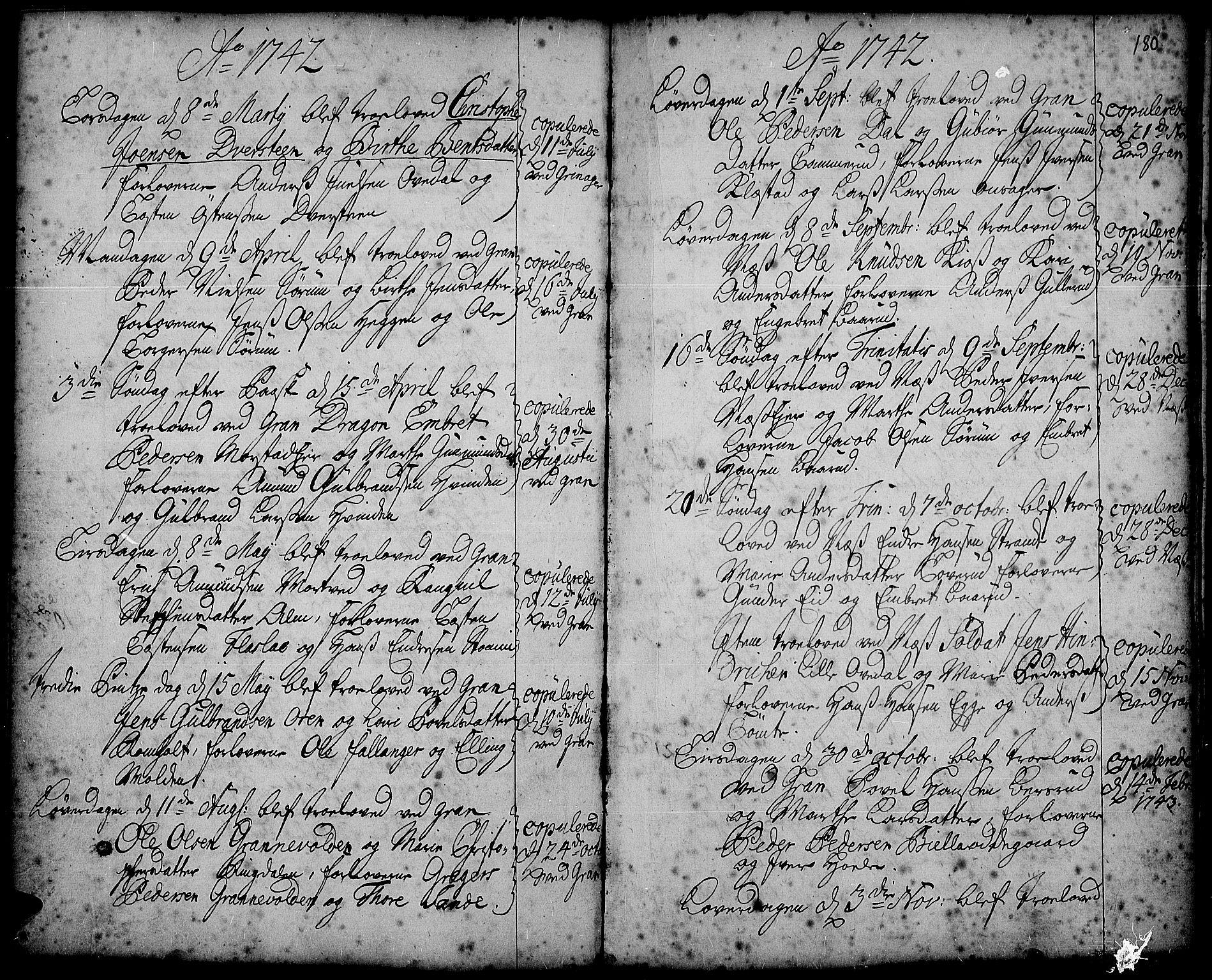 SAH, Gran prestekontor, Ministerialbok nr. 2, 1732-1744, s. 180