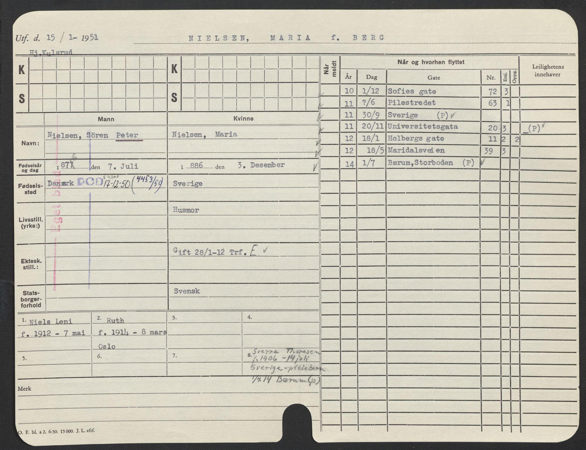 SAO, Oslo folkeregister, Registerkort, F/Fa/Fac/L0021: Kvinner, 1906-1914, s. 376a
