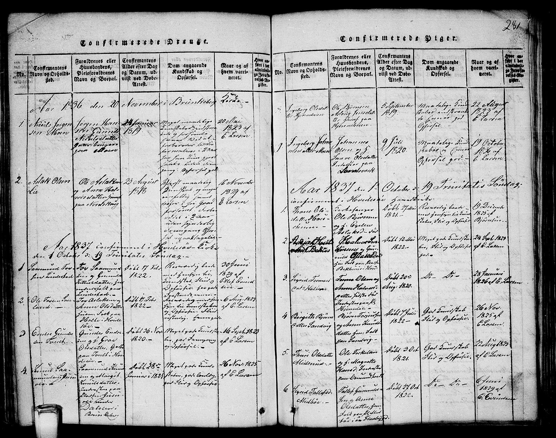 SAKO, Kviteseid kirkebøker, G/Gb/L0001: Klokkerbok nr. II 1, 1815-1842, s. 281