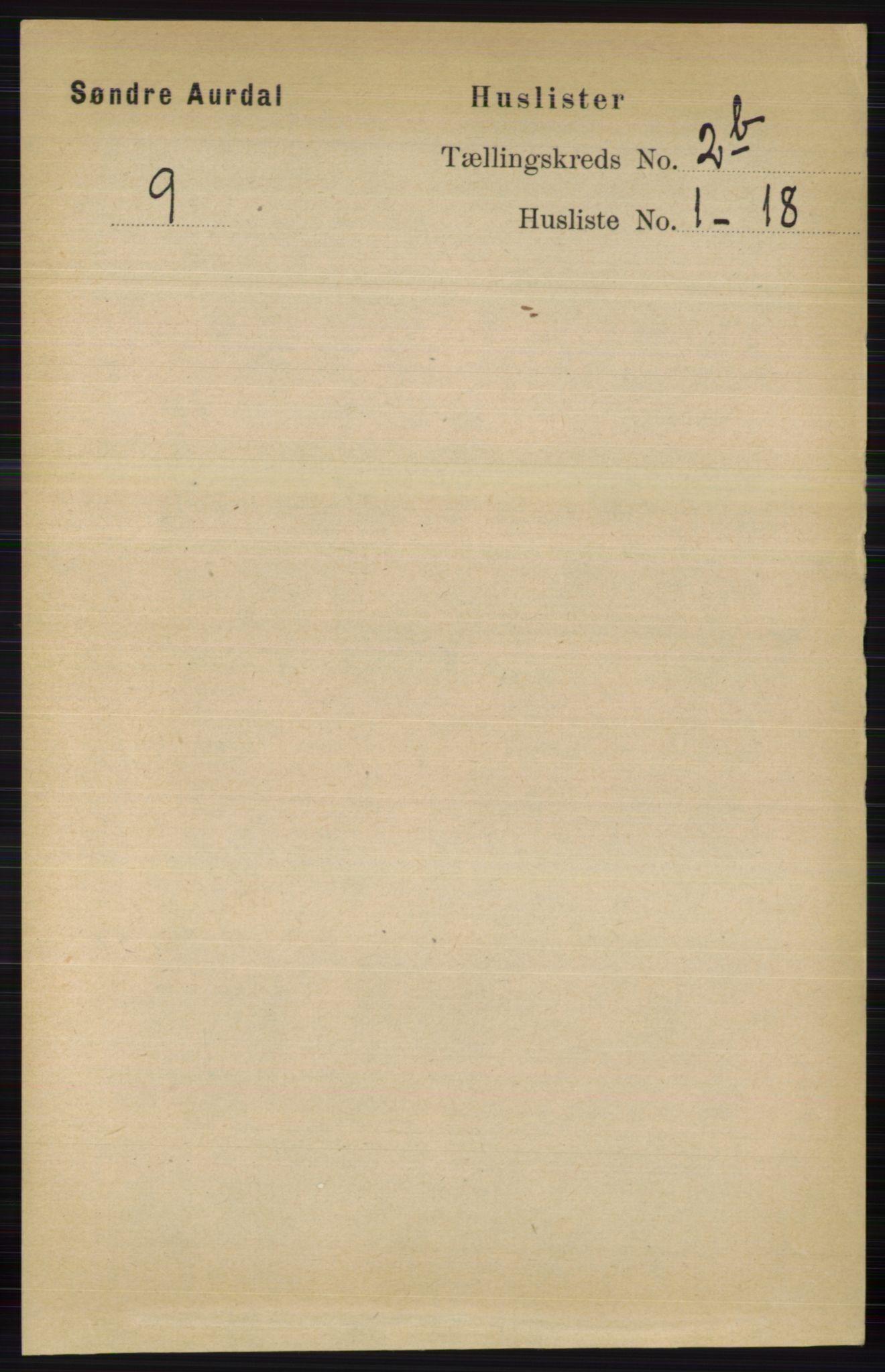 RA, Folketelling 1891 for 0540 Sør-Aurdal herred, 1891, s. 1435