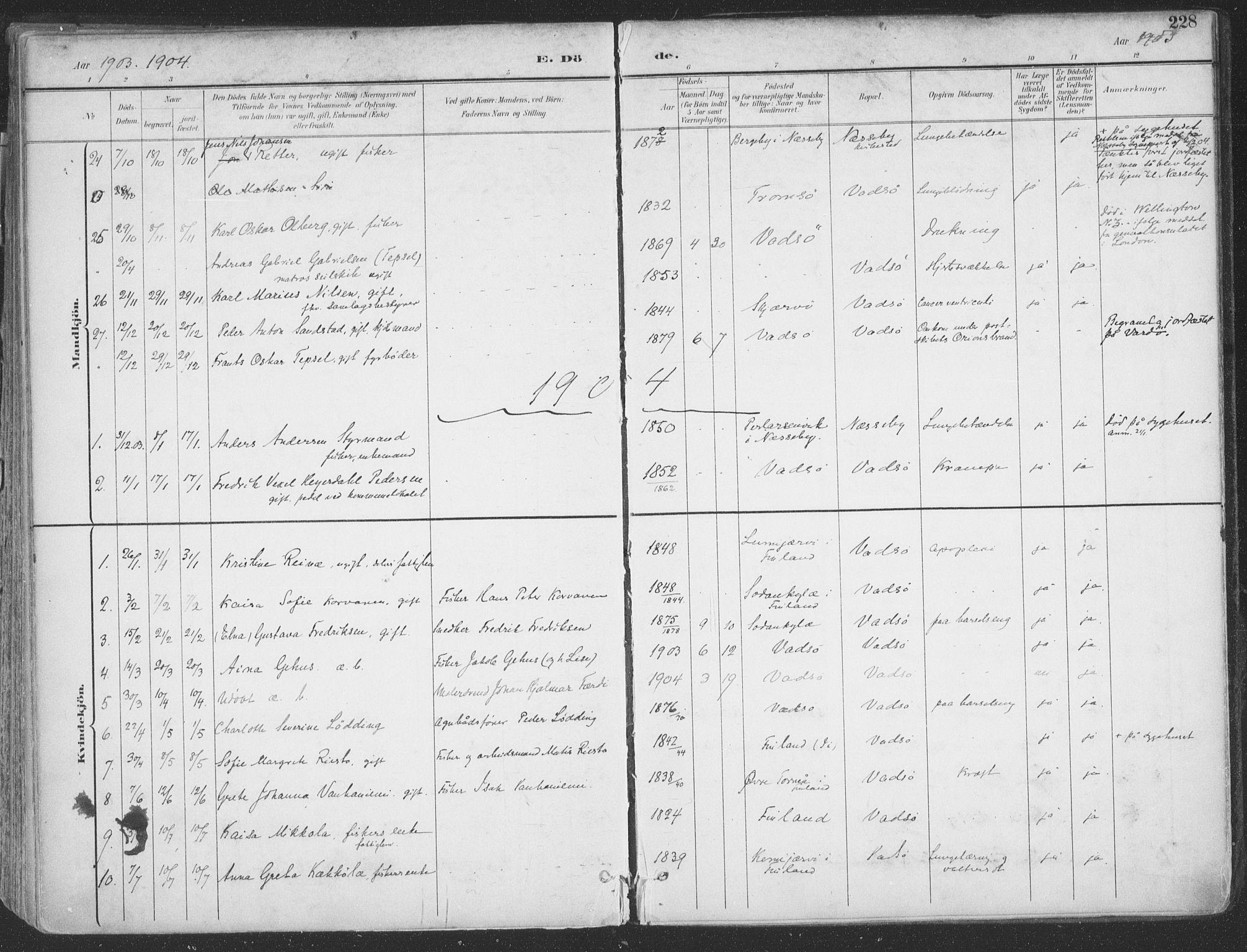 SATØ, Vadsø sokneprestkontor, H/Ha/L0007kirke: Ministerialbok nr. 7, 1896-1916, s. 228