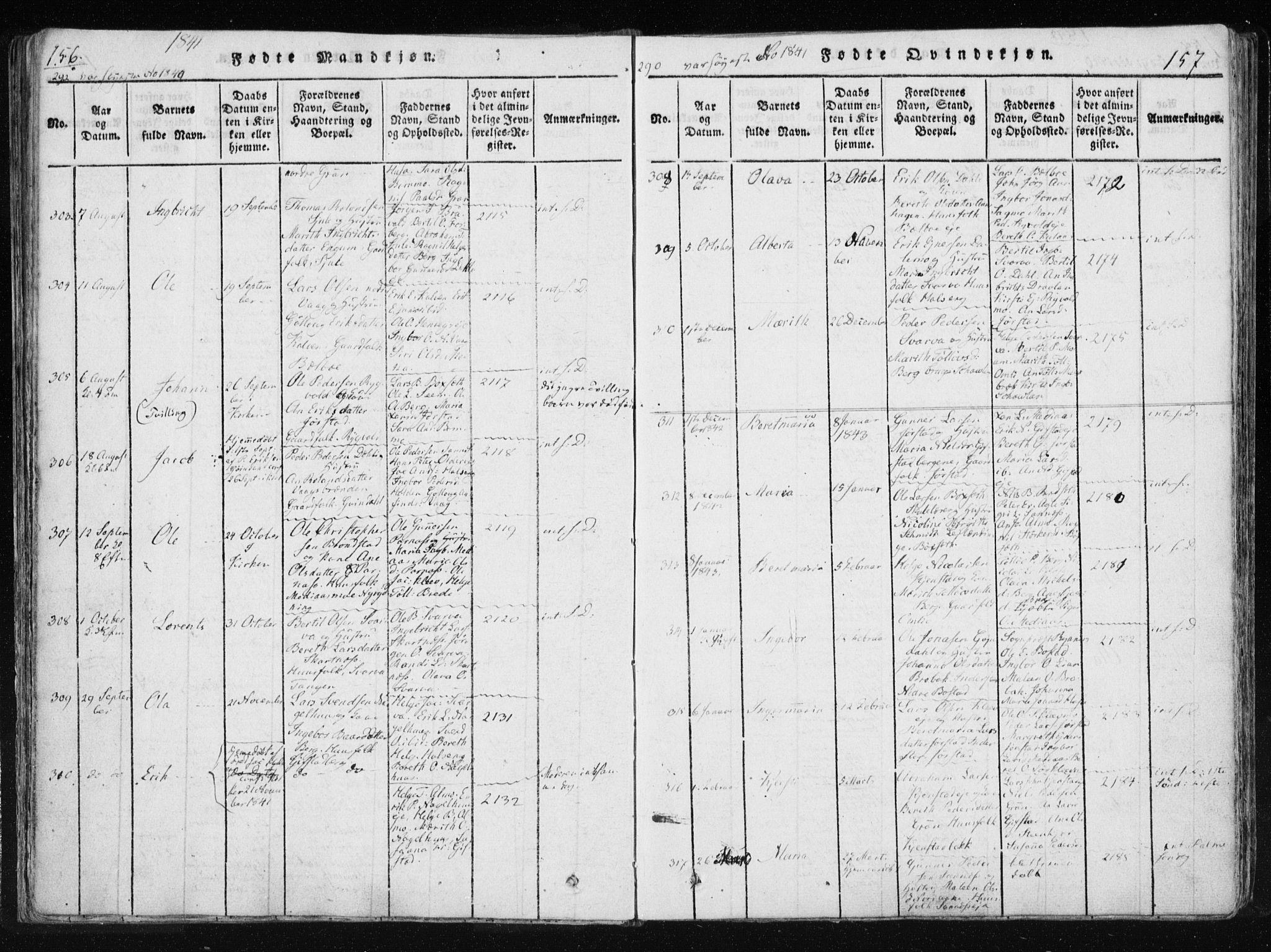 SAT, Ministerialprotokoller, klokkerbøker og fødselsregistre - Nord-Trøndelag, 749/L0469: Ministerialbok nr. 749A03, 1817-1857, s. 156-157
