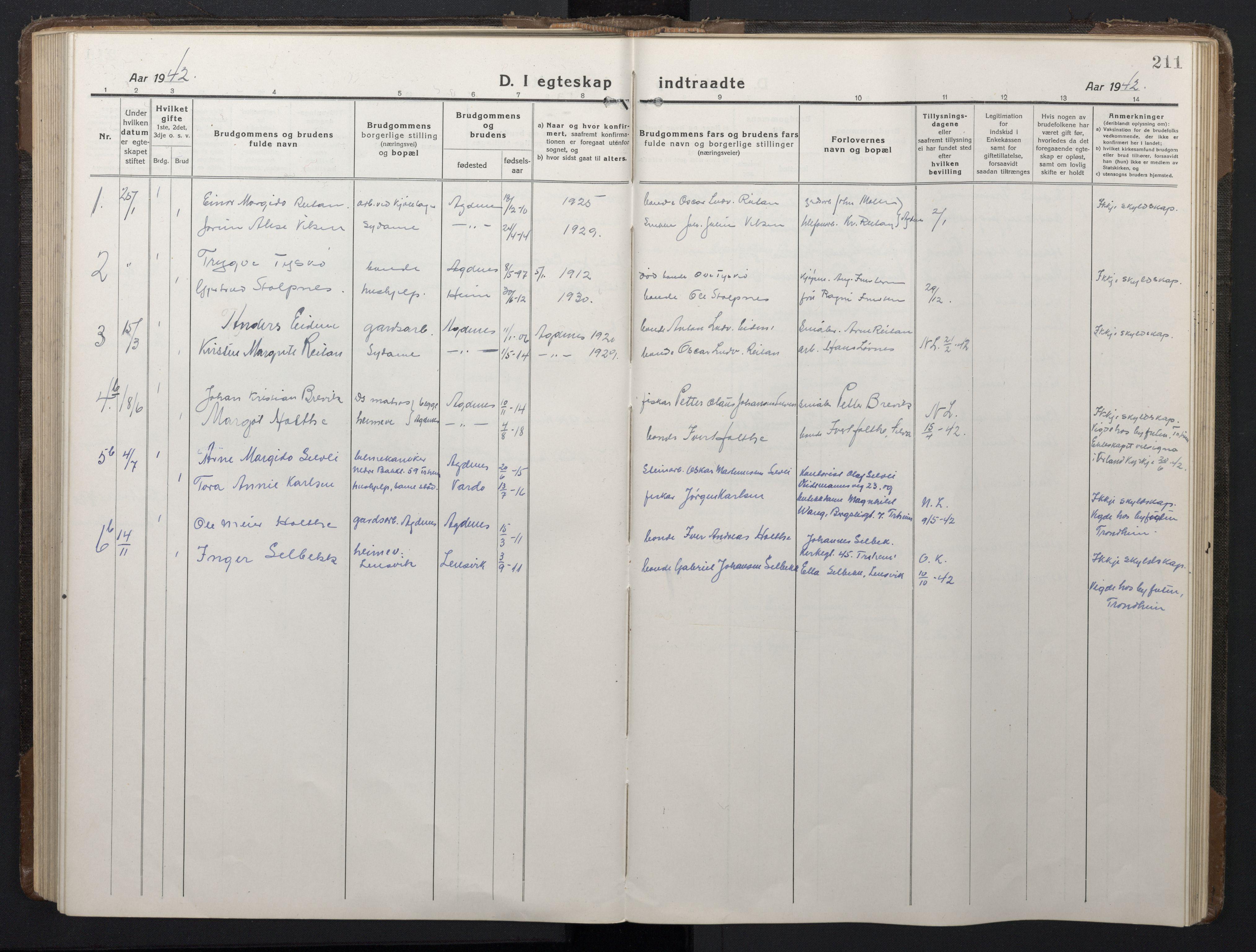 SAT, Ministerialprotokoller, klokkerbøker og fødselsregistre - Sør-Trøndelag, 662/L0758: Klokkerbok nr. 662C03, 1918-1948, s. 211