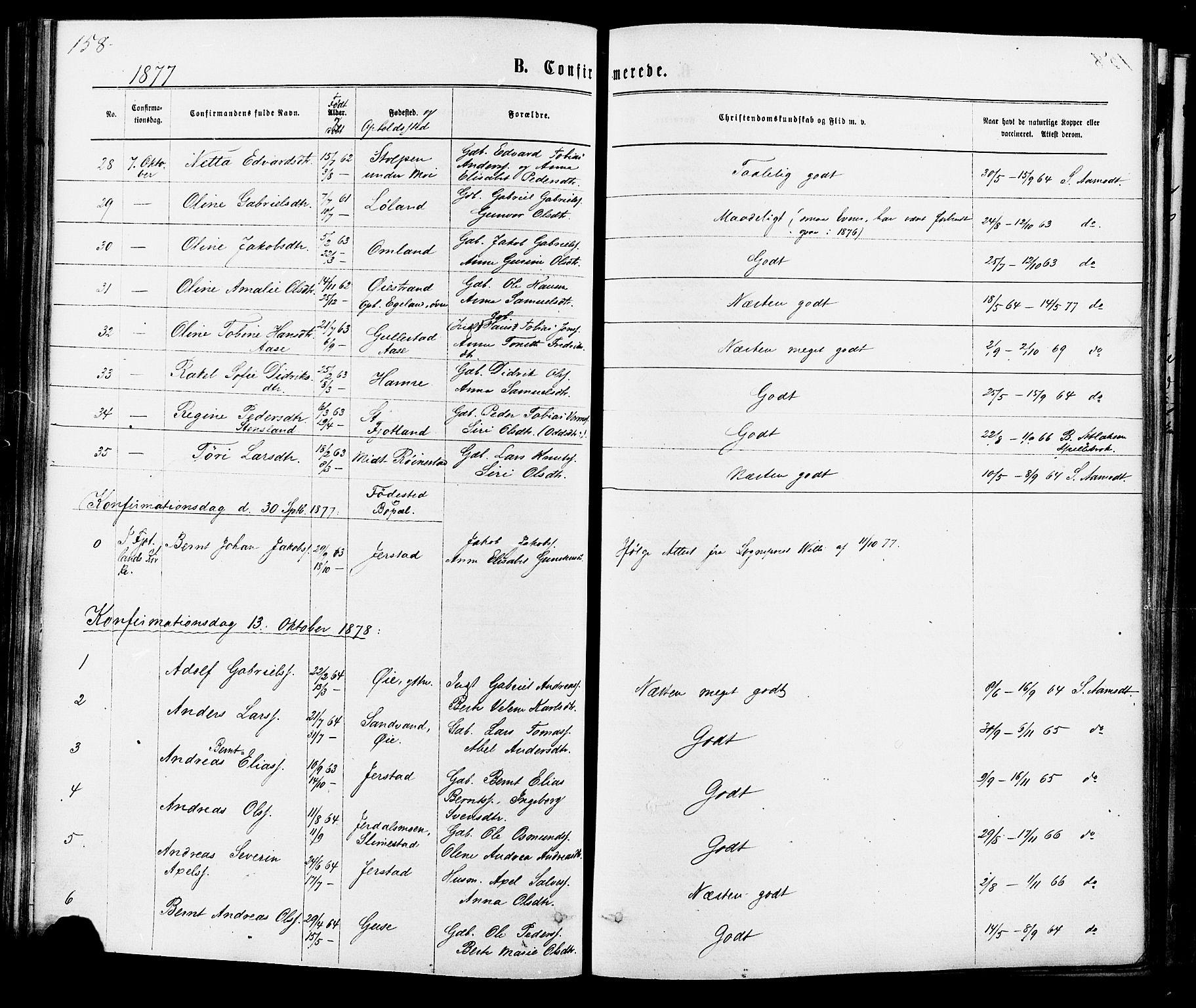 SAK, Kvinesdal sokneprestkontor, F/Fa/Fab/L0007: Ministerialbok nr. A 7, 1870-1885, s. 158