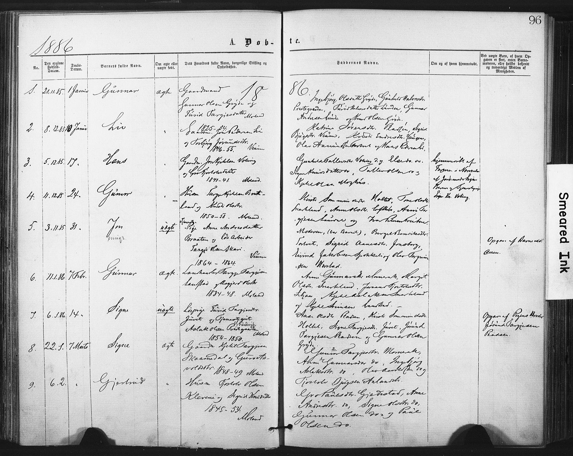 SAKO, Fyresdal kirkebøker, F/Fa/L0006: Ministerialbok nr. I 6, 1872-1886, s. 96