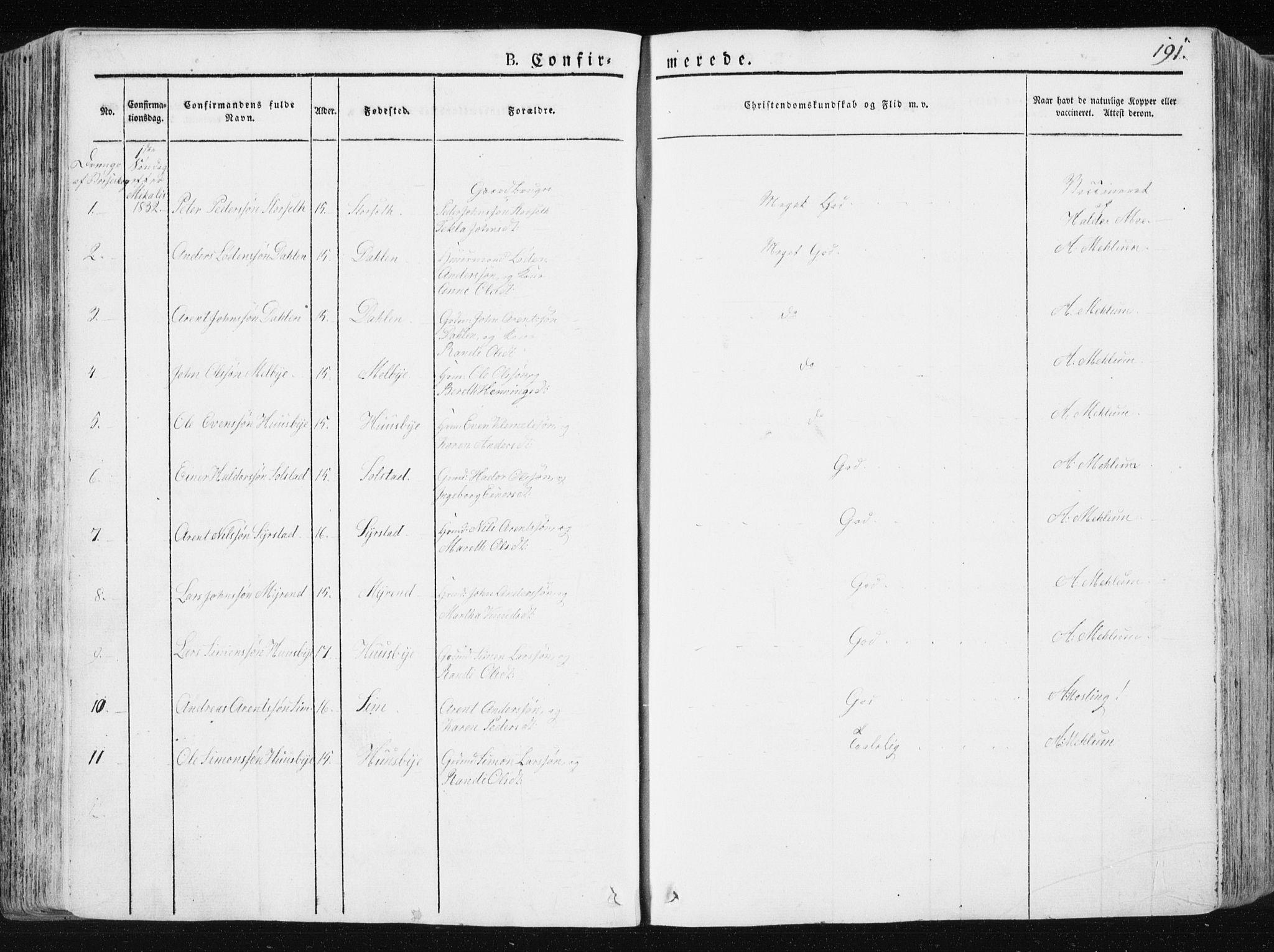 SAT, Ministerialprotokoller, klokkerbøker og fødselsregistre - Sør-Trøndelag, 665/L0771: Ministerialbok nr. 665A06, 1830-1856, s. 191