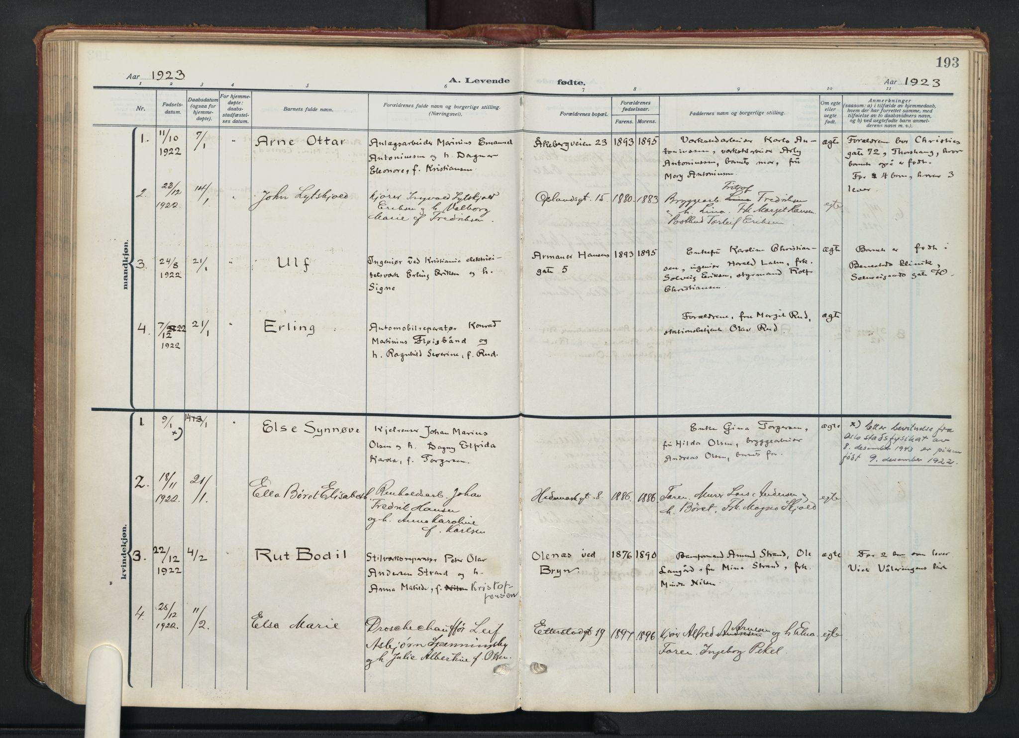 SAO, Vålerengen prestekontor Kirkebøker, F/Fa/L0004: Ministerialbok nr. 4, 1915-1929, s. 193