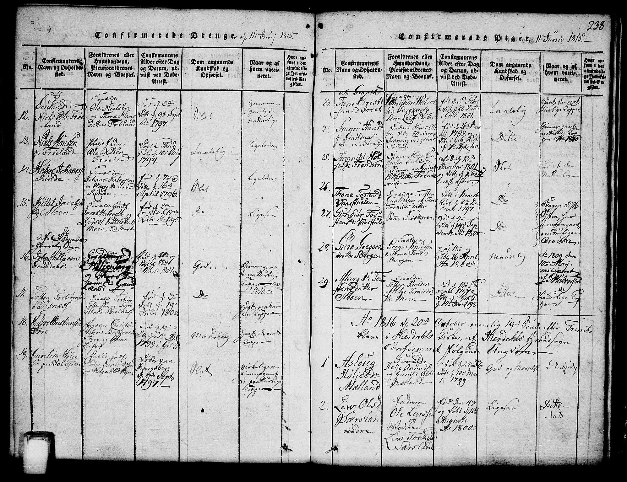 SAKO, Hjartdal kirkebøker, G/Ga/L0001: Klokkerbok nr. I 1, 1815-1842, s. 238