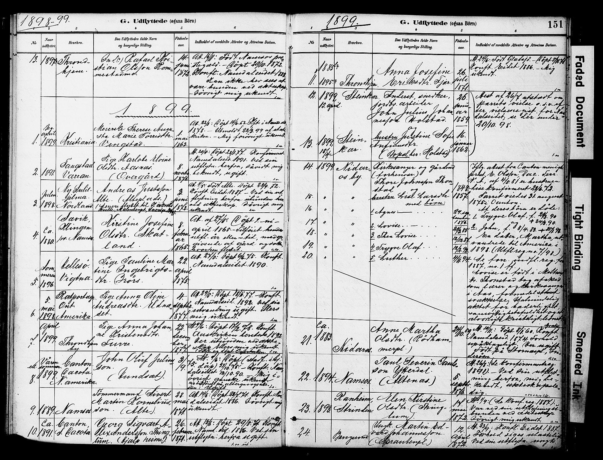 SAT, Ministerialprotokoller, klokkerbøker og fødselsregistre - Nord-Trøndelag, 742/L0409: Ministerialbok nr. 742A02, 1891-1905, s. 151