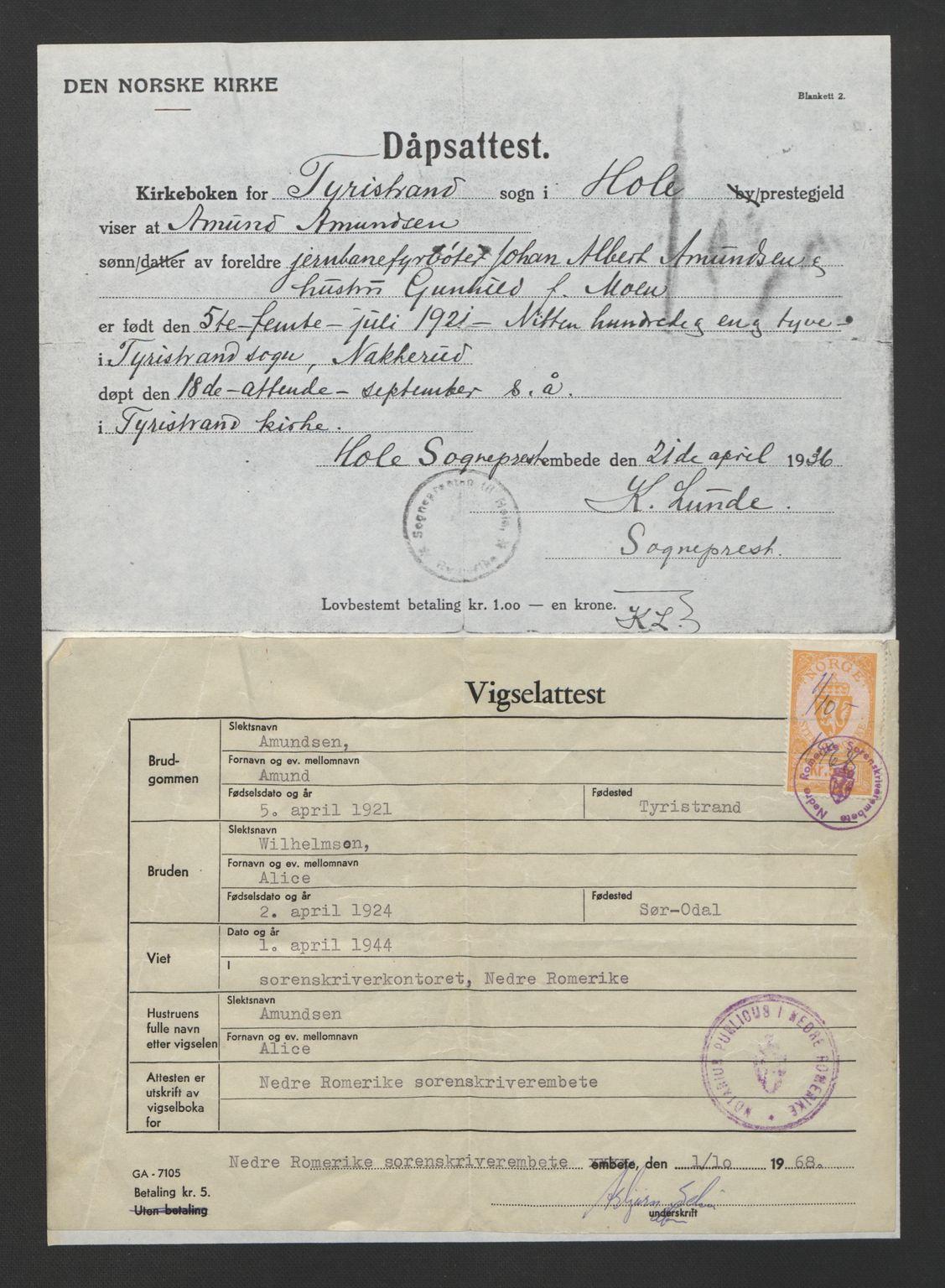 SAO, Nedre Romerike sorenskriveri, L/Lb/L0005: Vigselsbok - borgerlige vielser, 1944, s. upaginert
